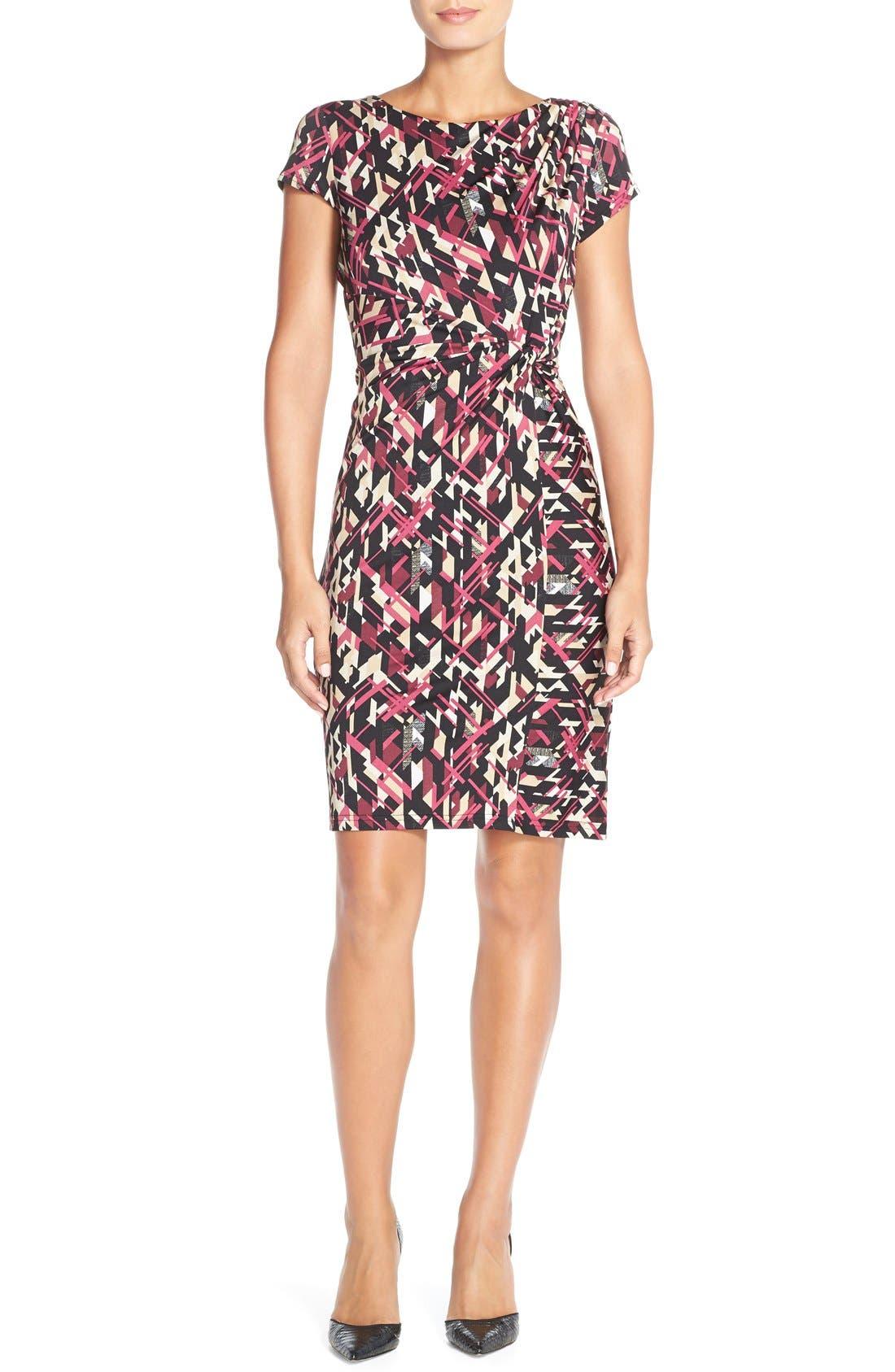 Print Jersey Faux Wrap Sheath Dress,                             Alternate thumbnail 3, color,                             007