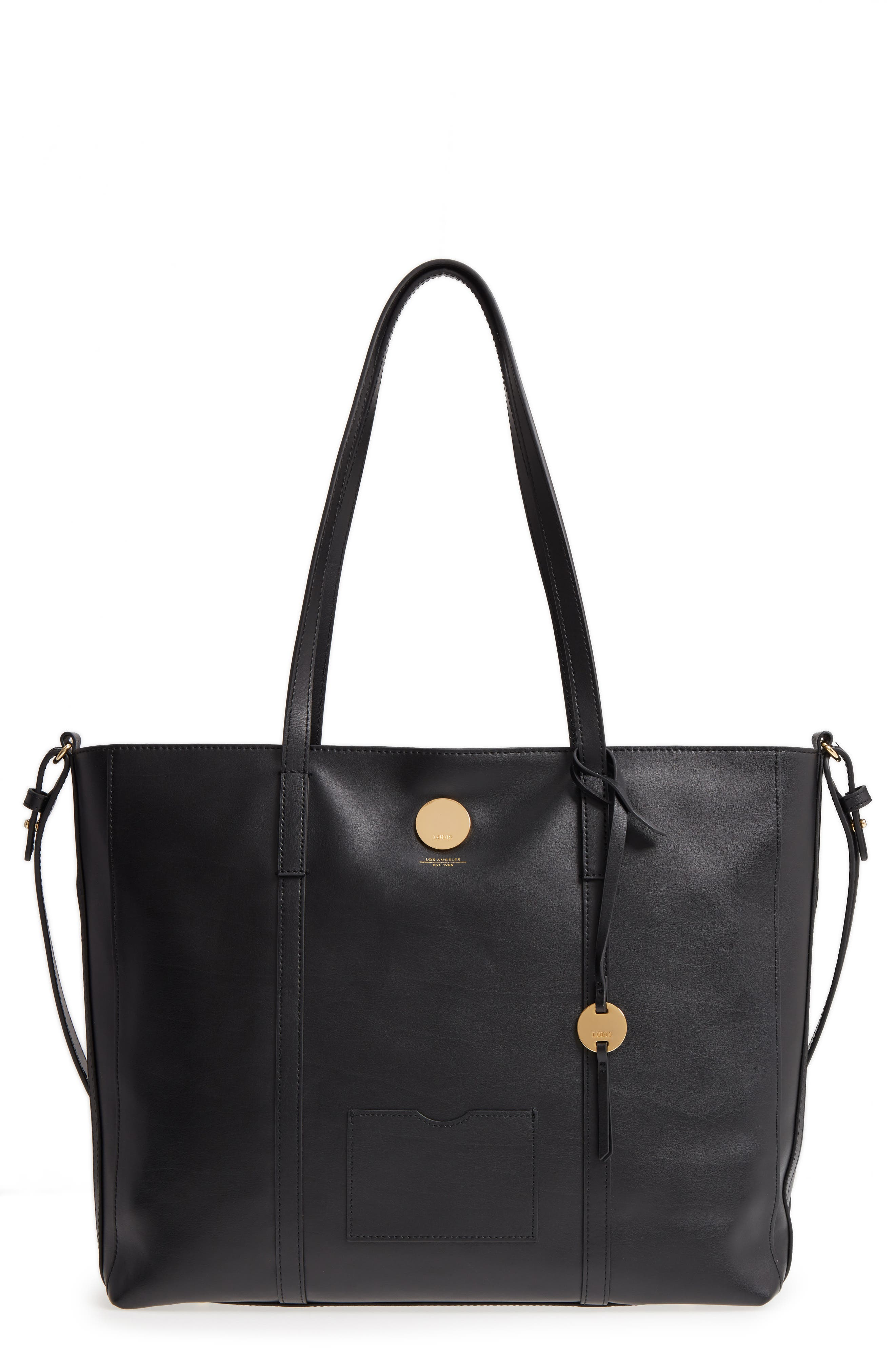 Nelly RFID Medium Leather Tote,                         Main,                         color, BLACK