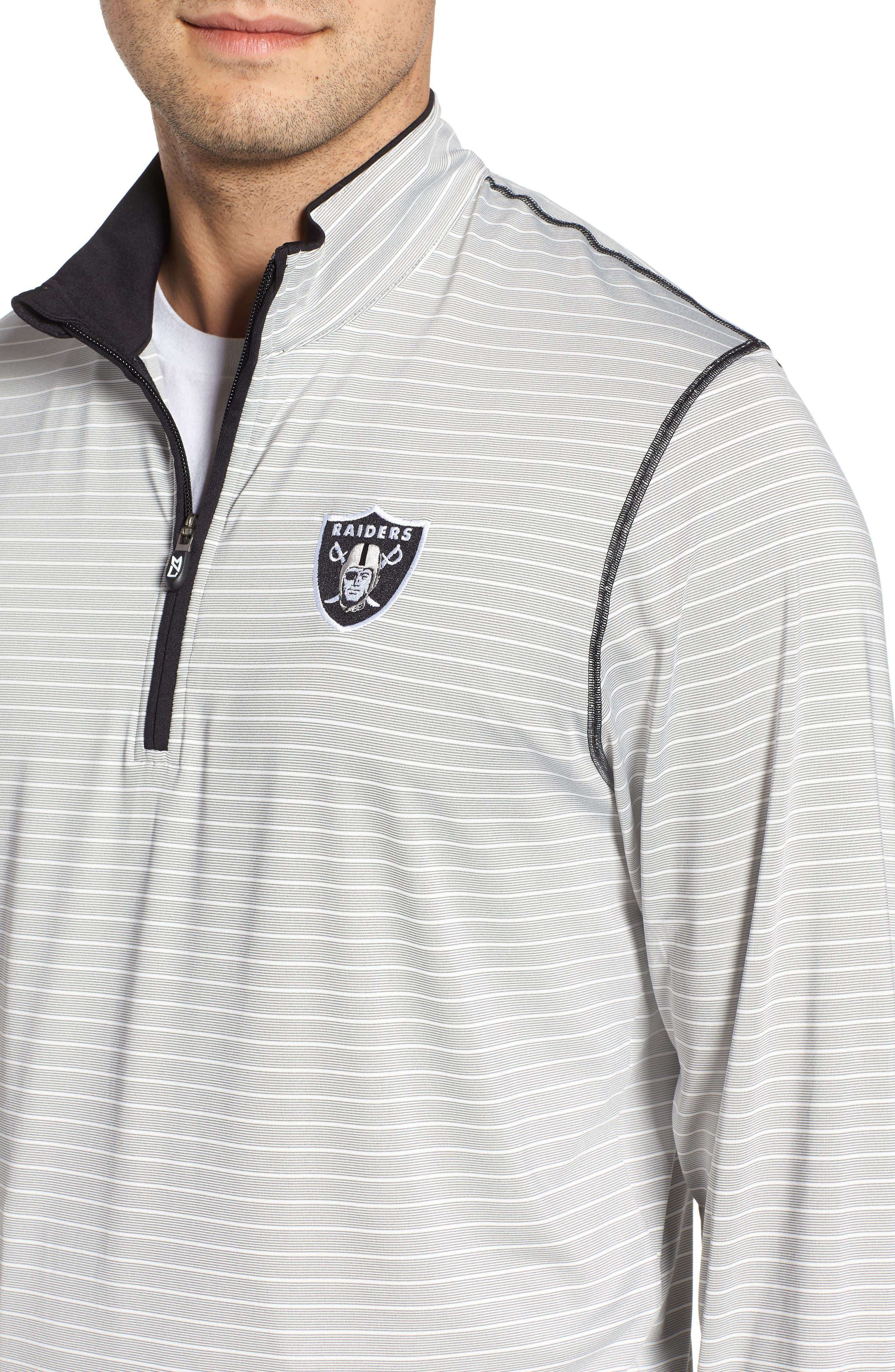 Oakland Raiders - Meridian Half Zip Pullover,                             Alternate thumbnail 4, color,                             BLACK