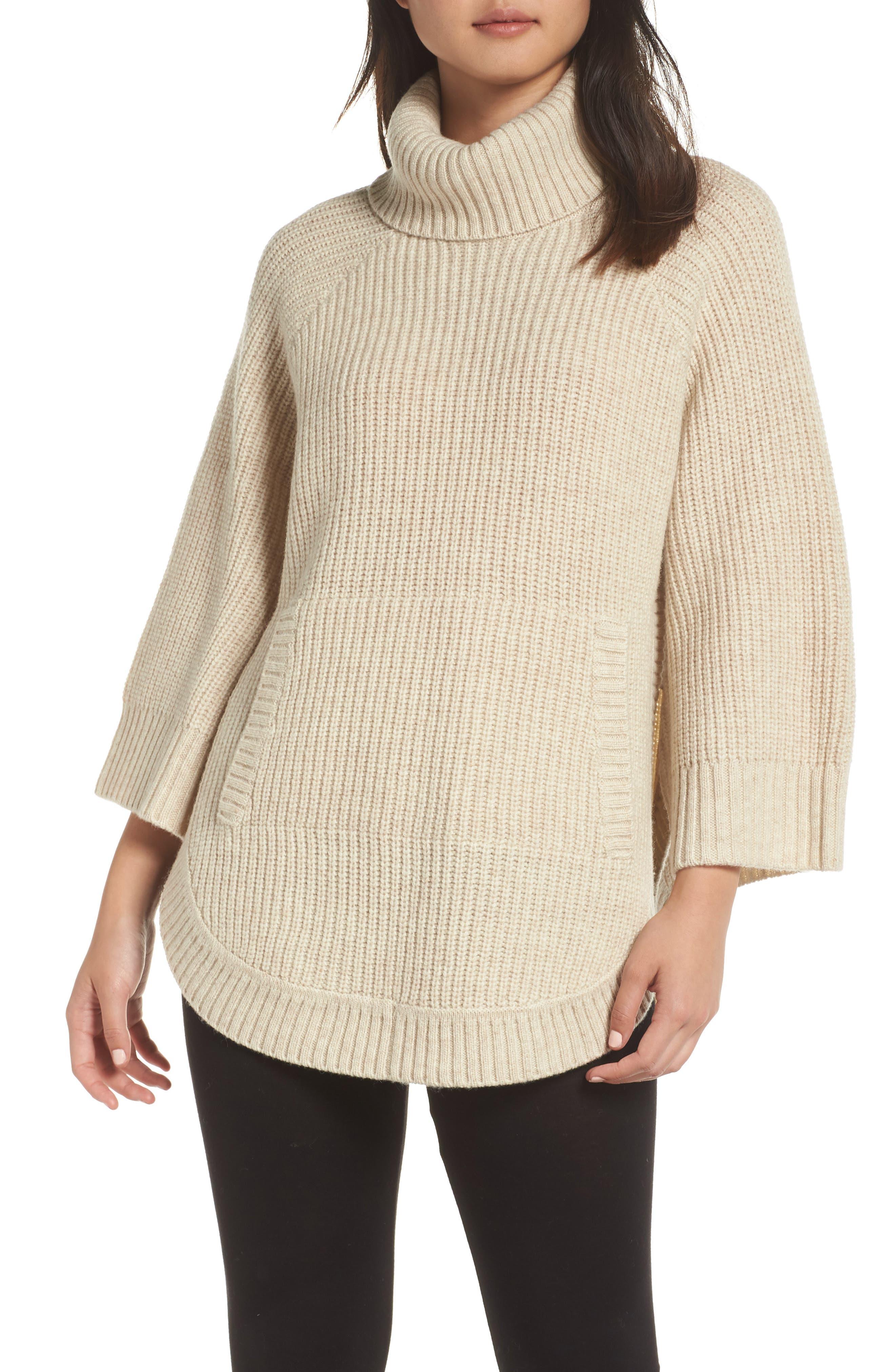 Raelynn Sweater Poncho,                             Main thumbnail 1, color,                             CREAM HEATHER