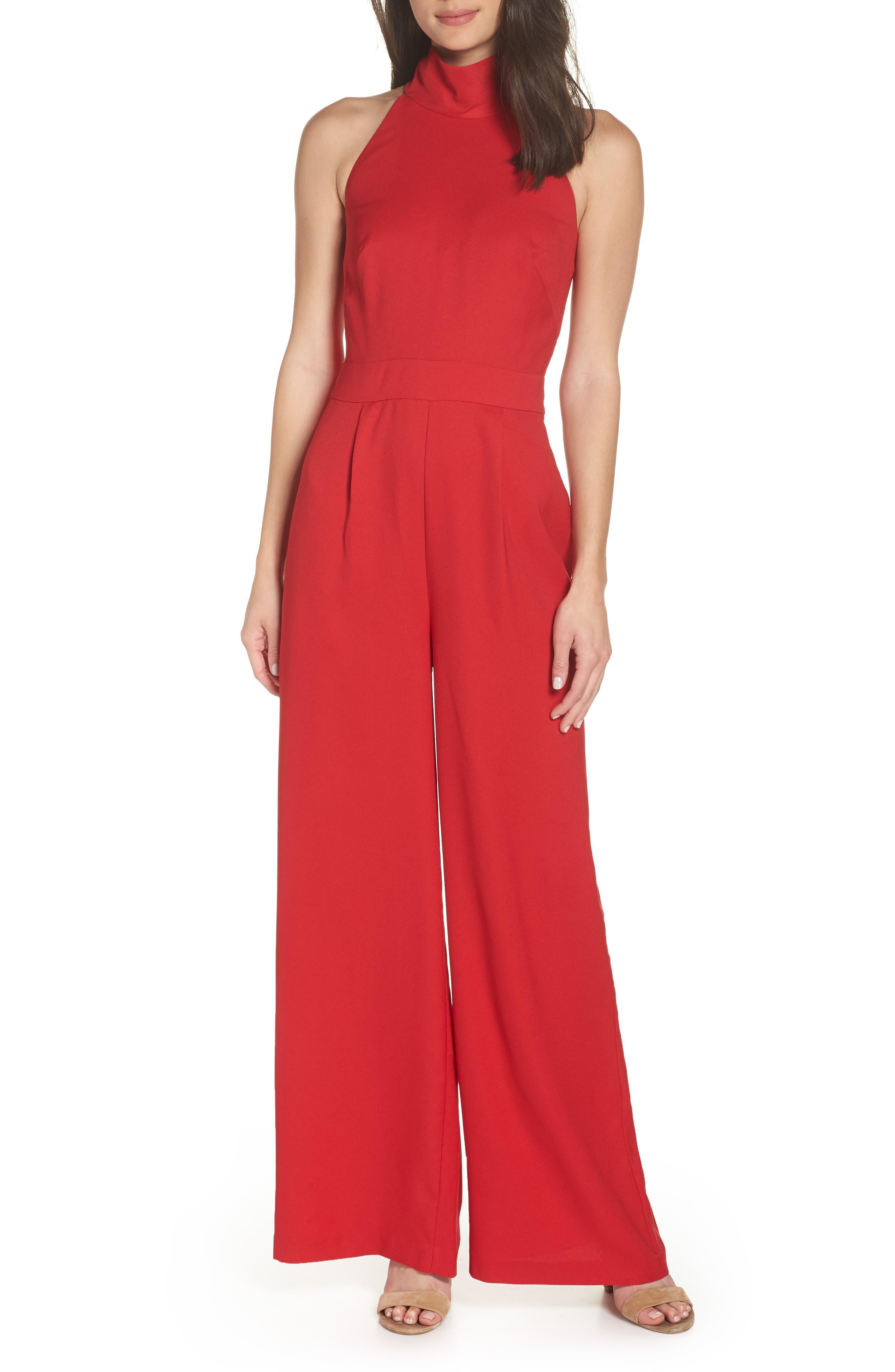 CHELSEA28 Tie Back Jumpsuit, Main, color, RED LIPSTICK