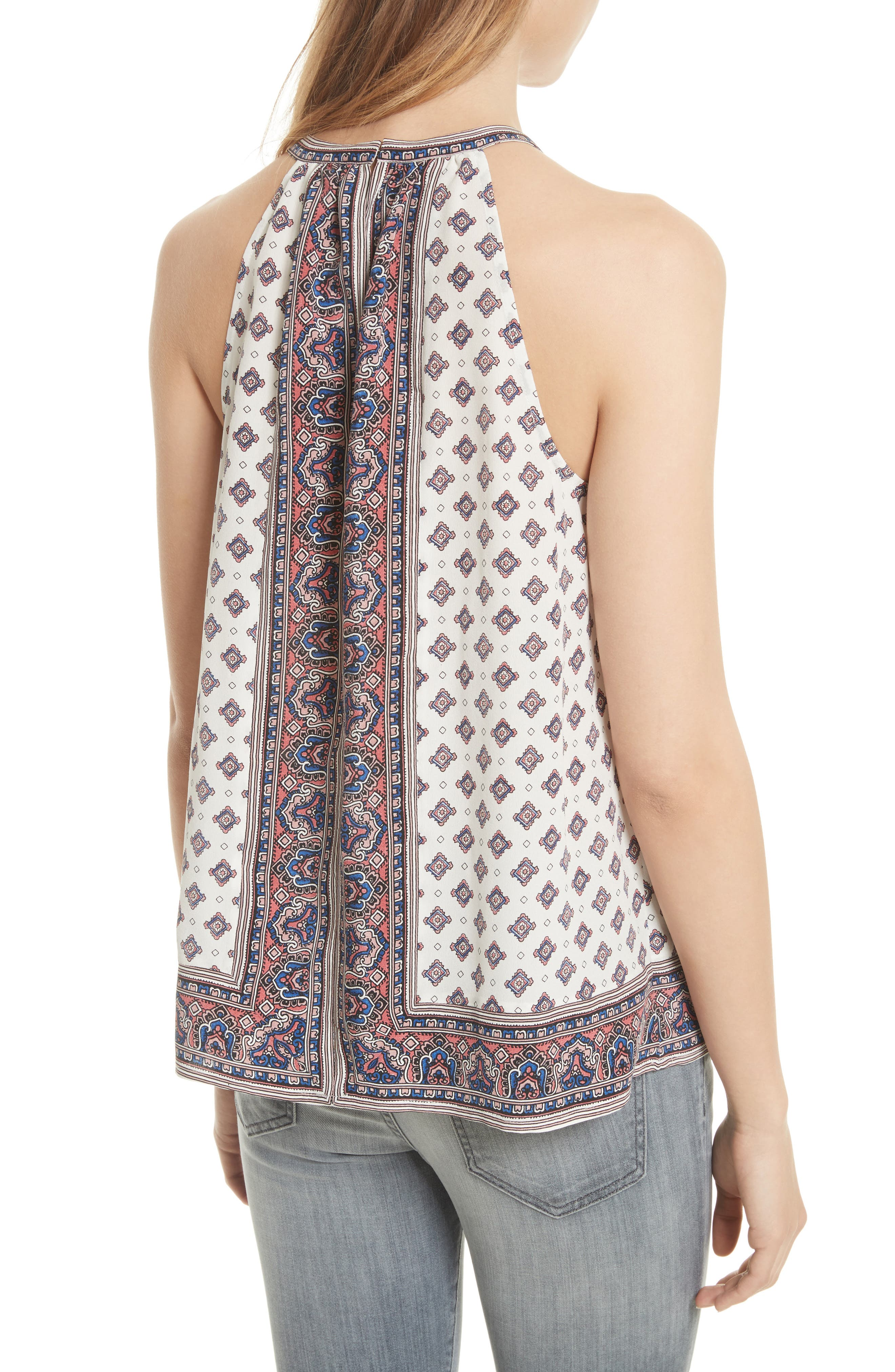 Bradie Border Print Silk Top,                             Alternate thumbnail 2, color,