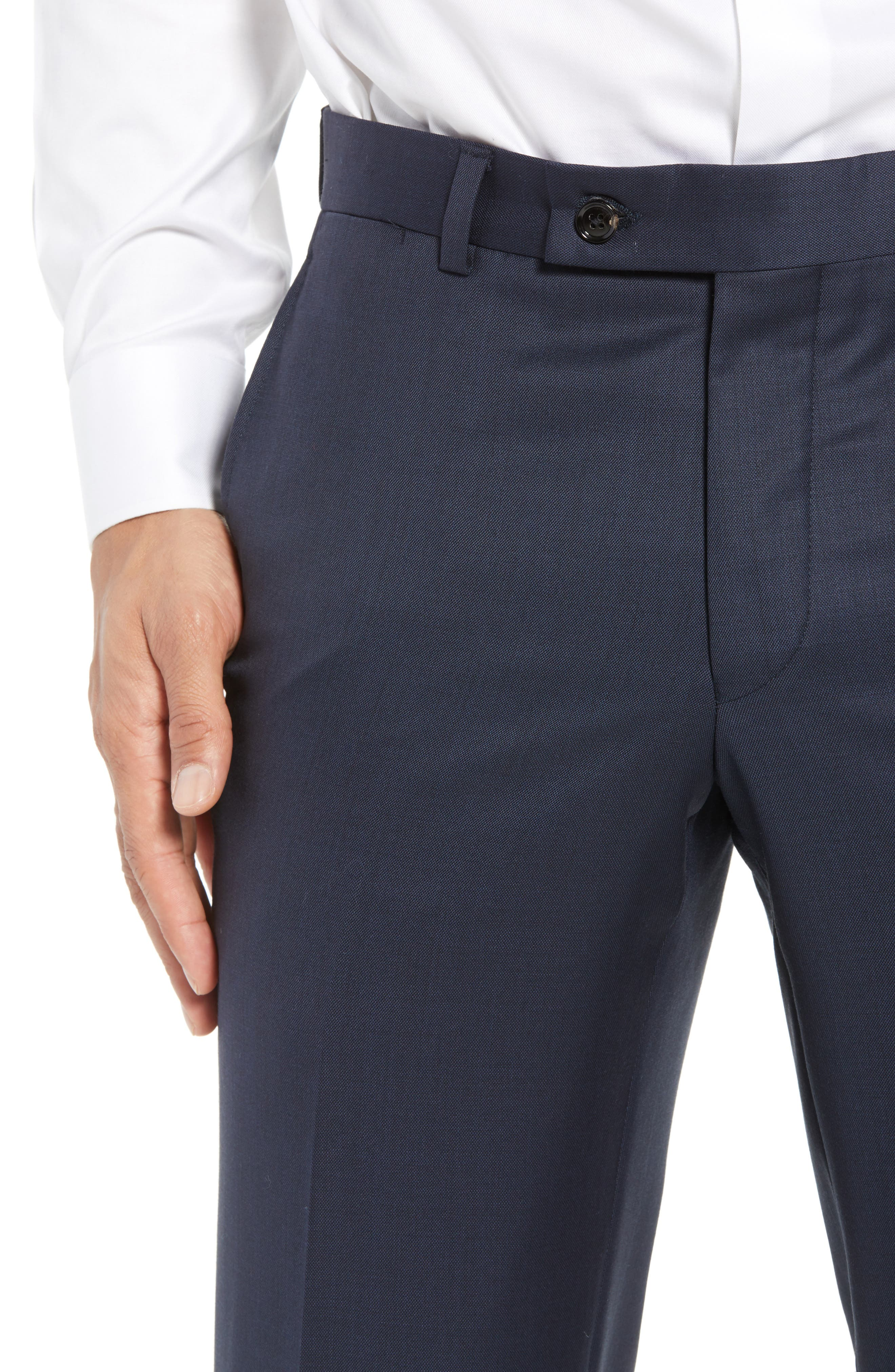 Jefferson Flat Front Wool Trousers,                             Alternate thumbnail 32, color,