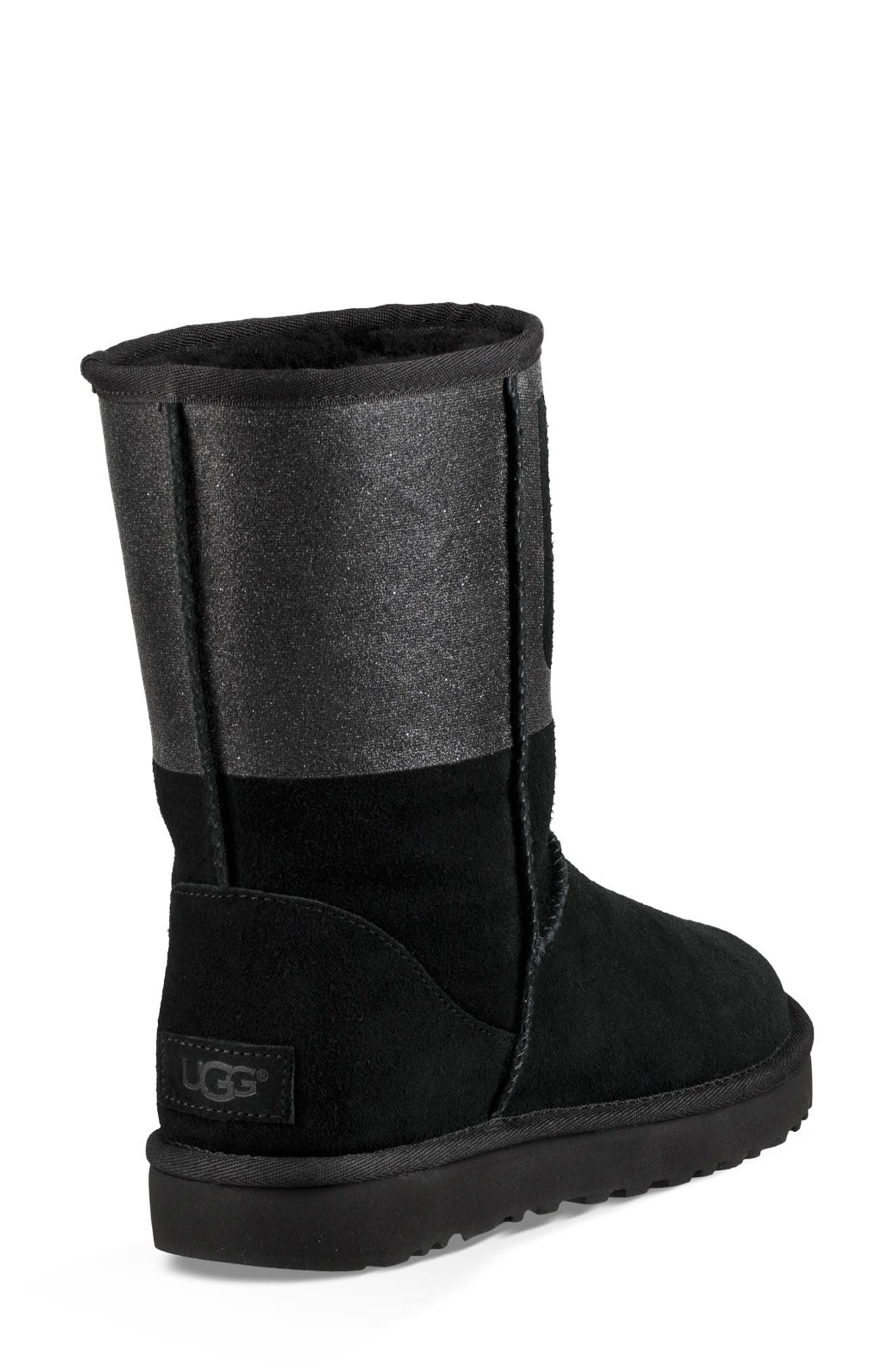 UGG<SUP>®</SUP>,                             Sparkle Classic Genuine Shearling Lined Bootie,                             Alternate thumbnail 2, color,                             001