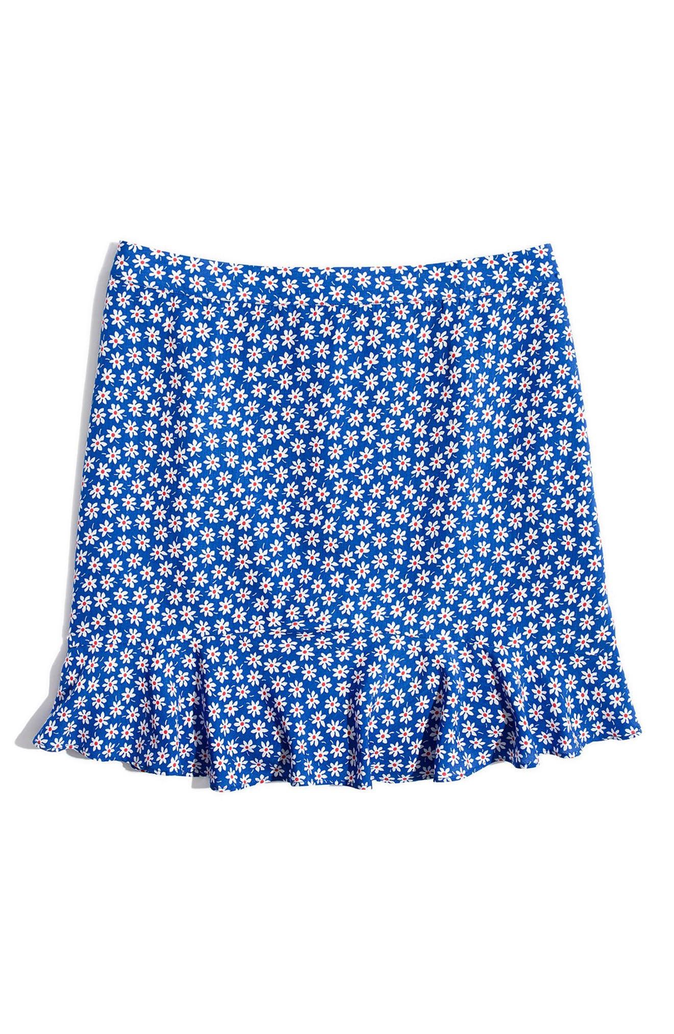 Daisy Print Ruffle Miniskirt,                             Alternate thumbnail 4, color,                             BRILLIANT ROYAL
