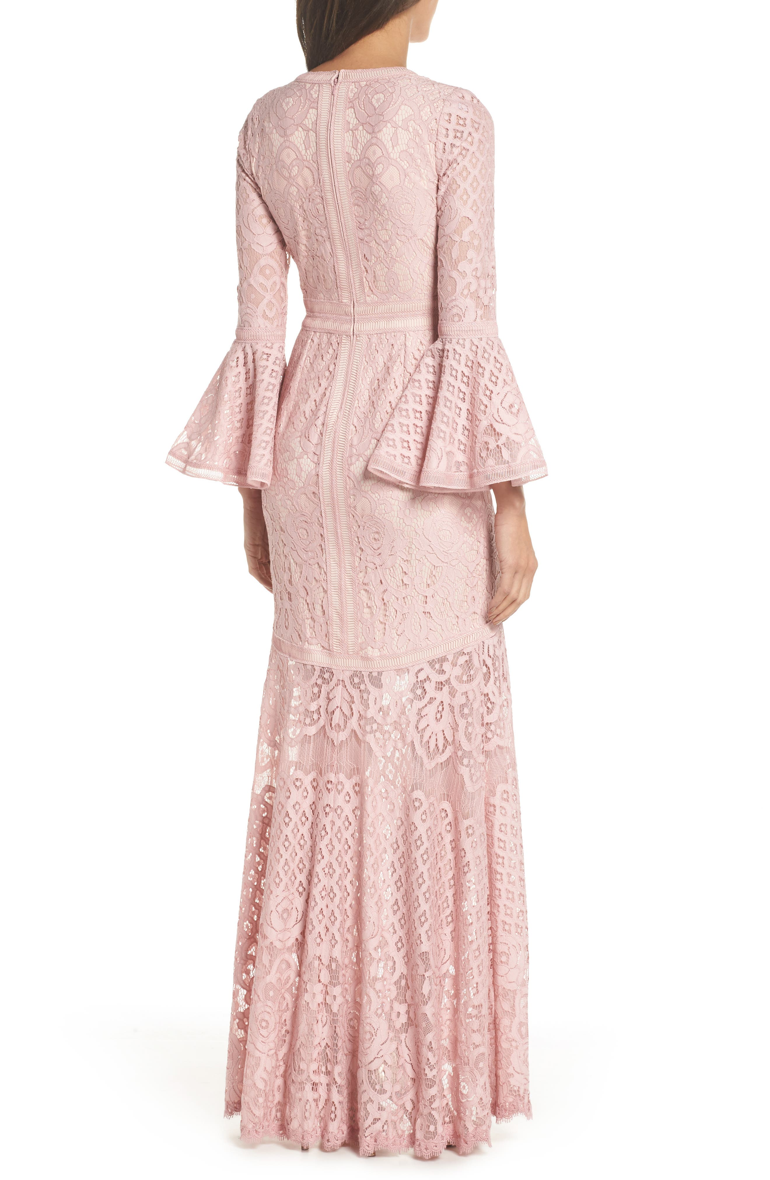 Bell Sleeve Lace Gown,                             Alternate thumbnail 2, color,