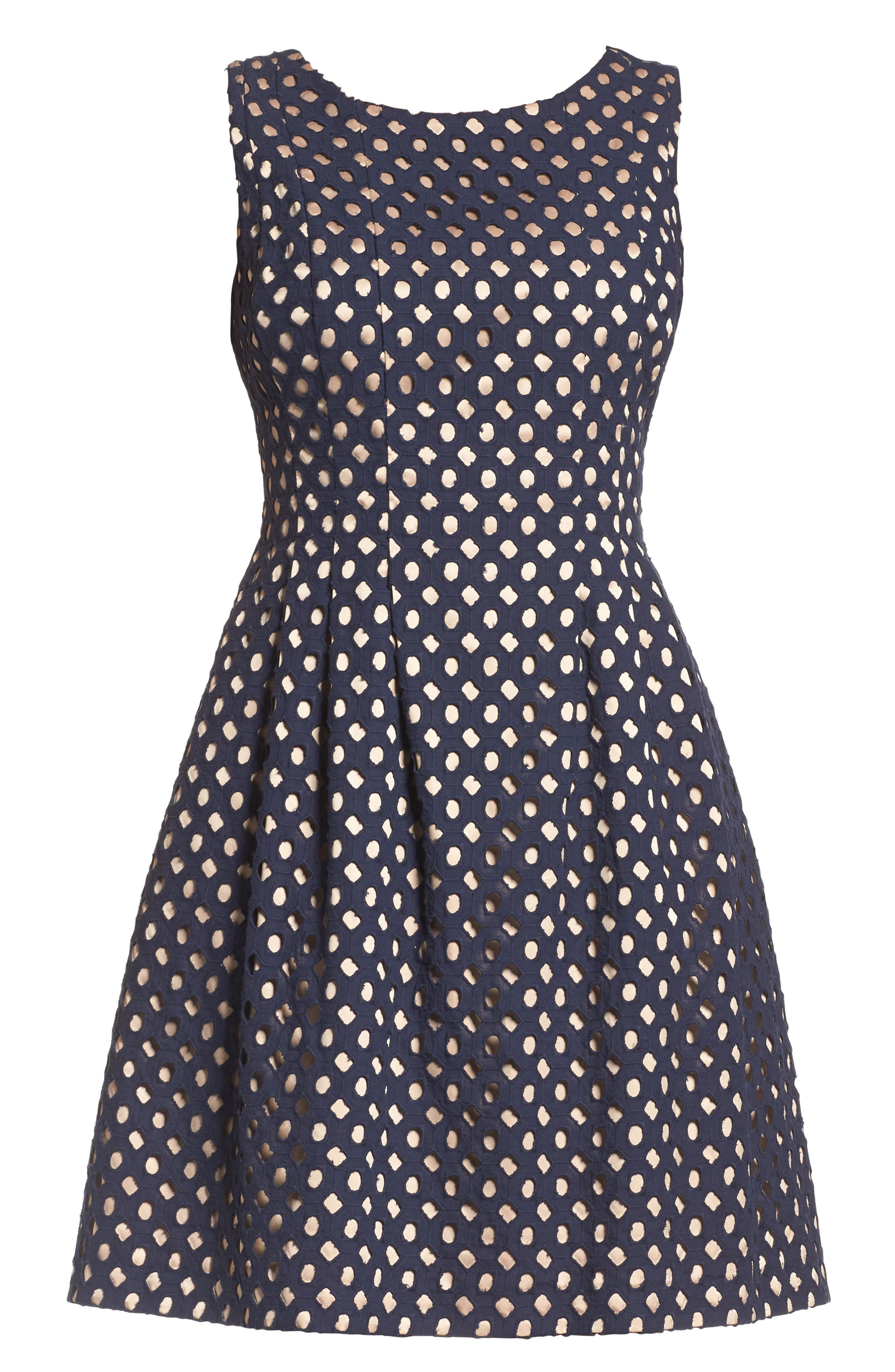 Eyelet Fit & Flare Dress,                             Alternate thumbnail 6, color,                             410
