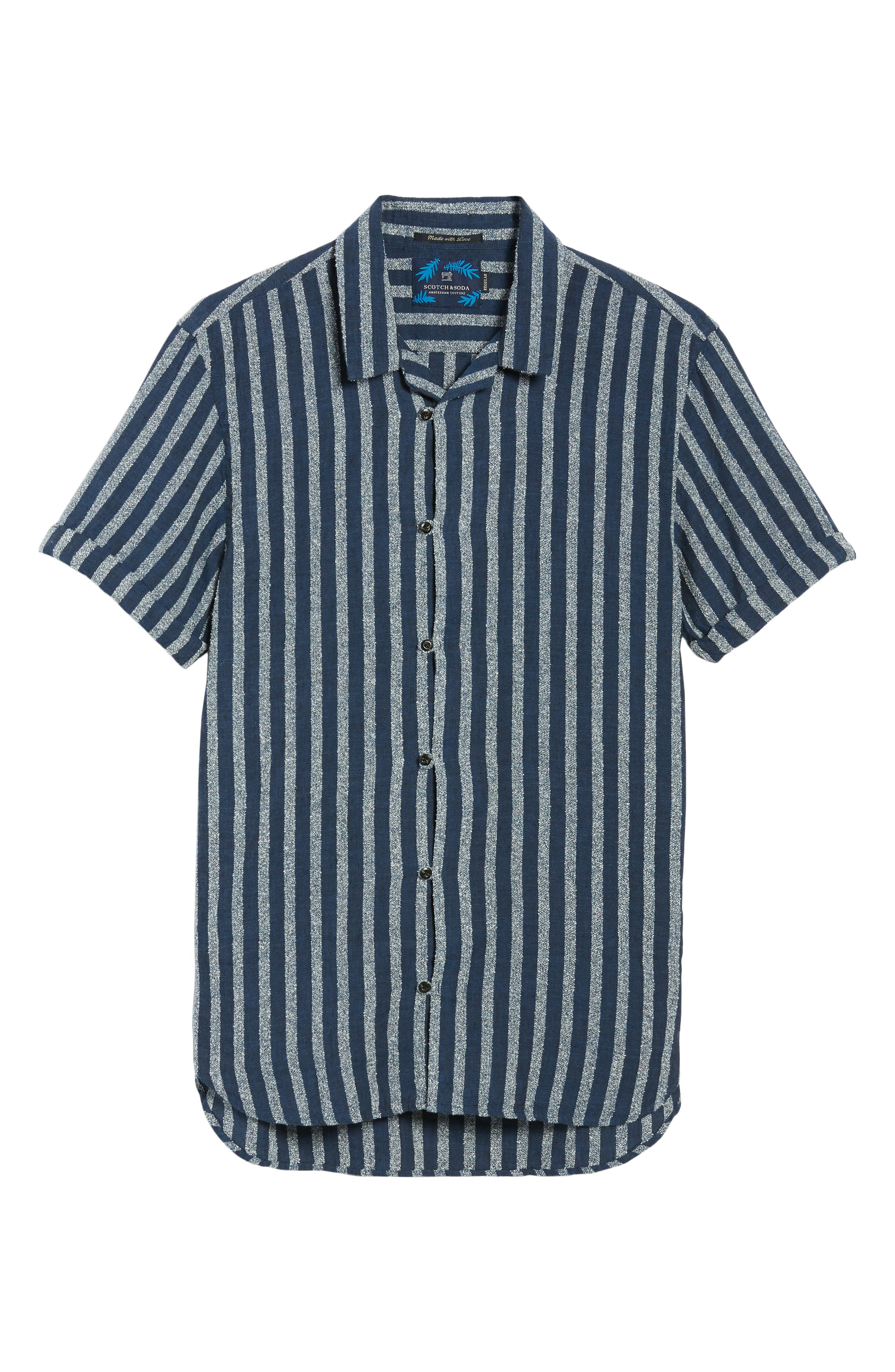 Stripe Woven Shirt,                             Alternate thumbnail 6, color,                             100