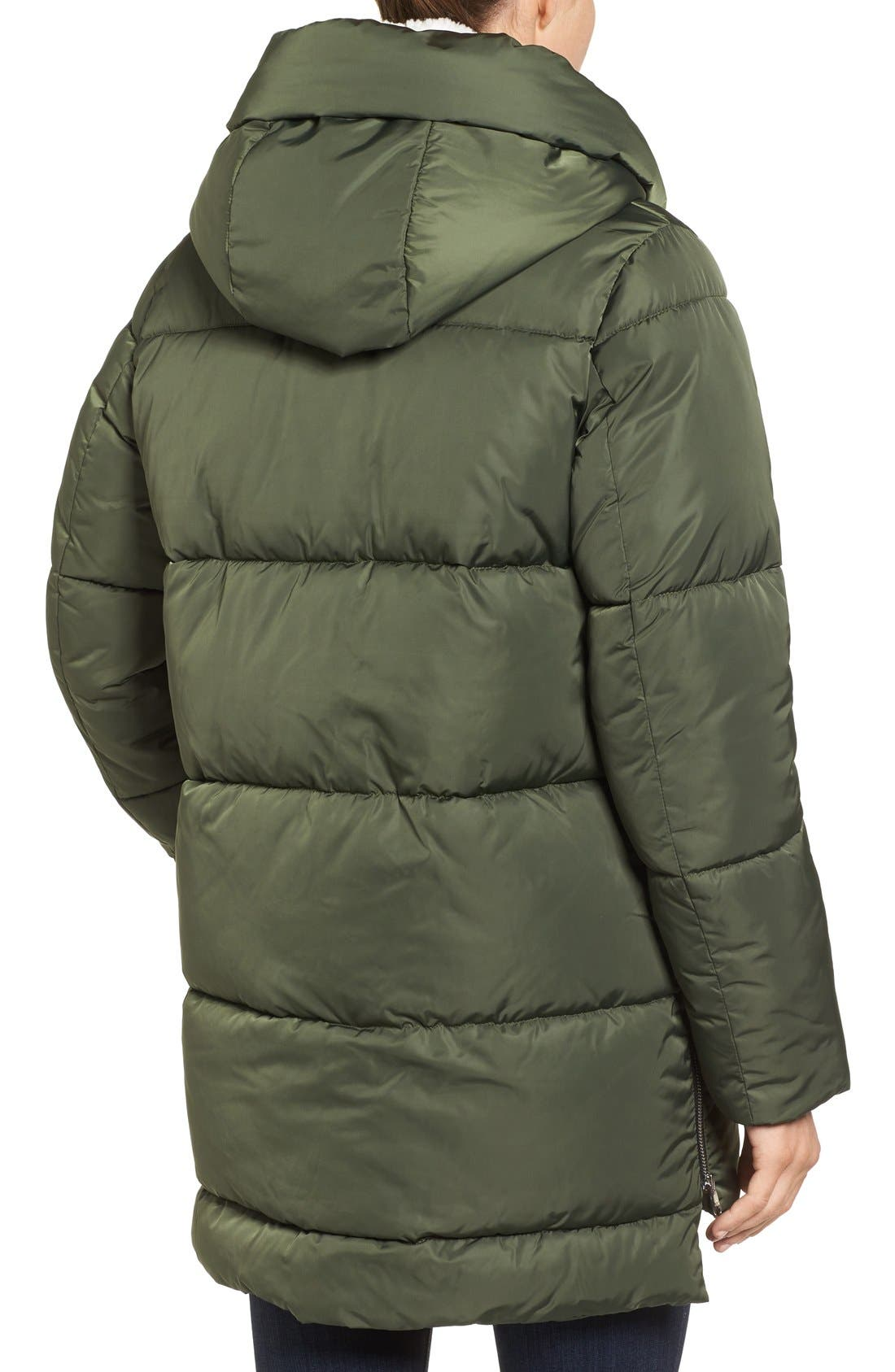 Hooded Puffer Jacket with Faux Shearling Trim,                             Alternate thumbnail 9, color,