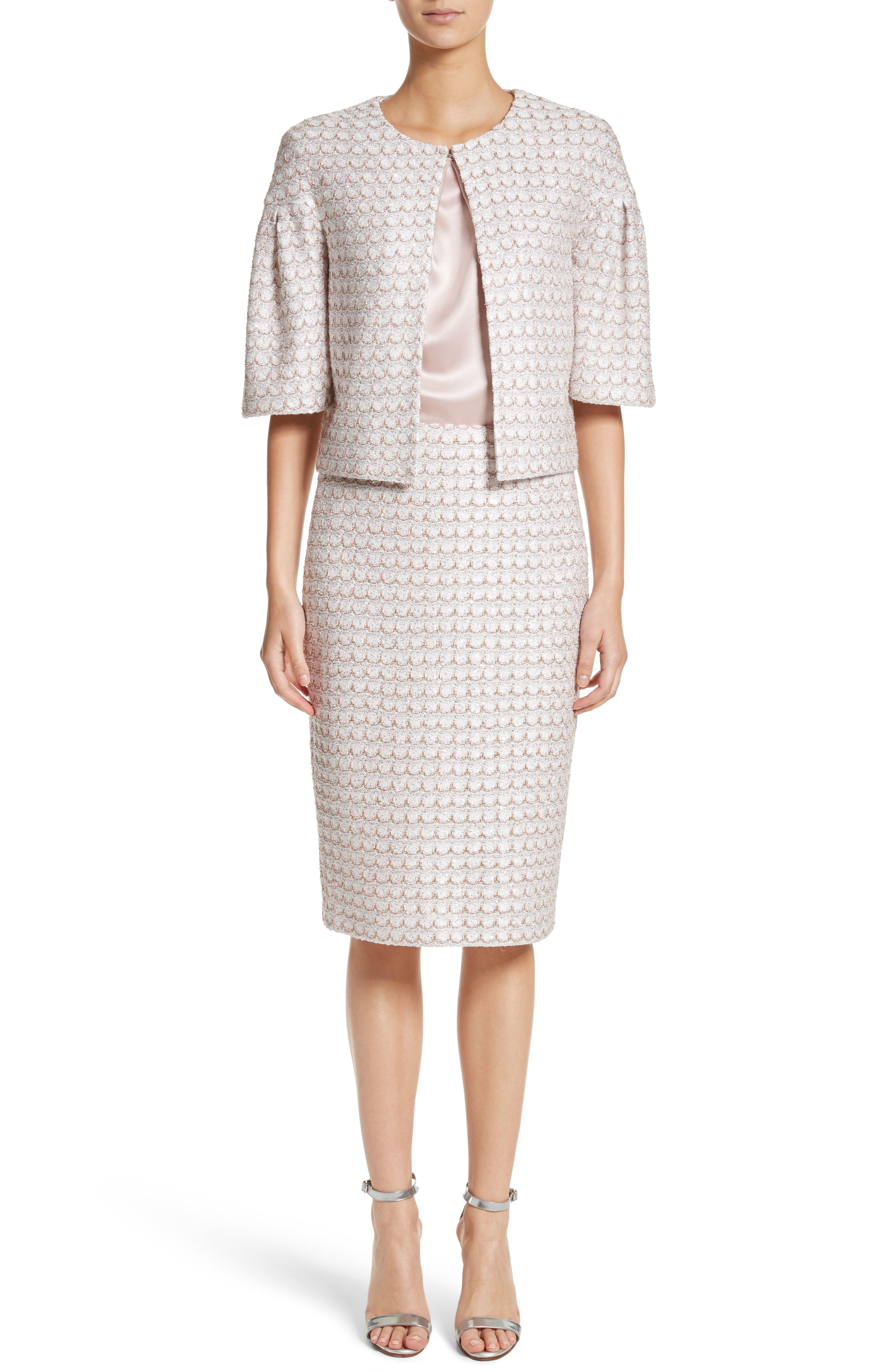 ST. JOHN COLLECTION,                             Frosted Metallic Knit Pencil Skirt,                             Alternate thumbnail 7, color,                             660