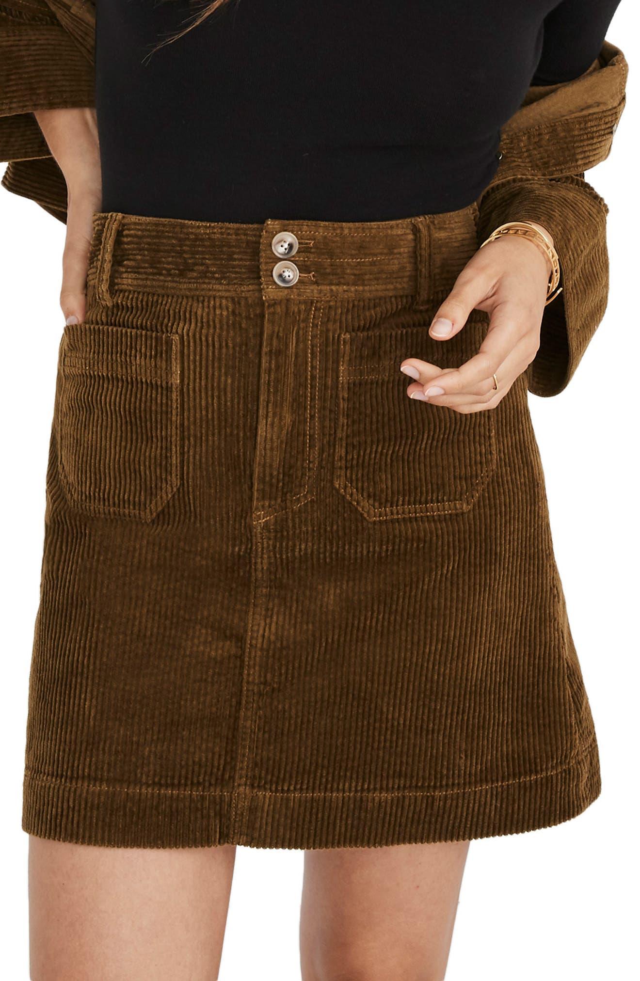 Corduroy A-Line Miniskirt,                         Main,                         color, ASPARAGUS