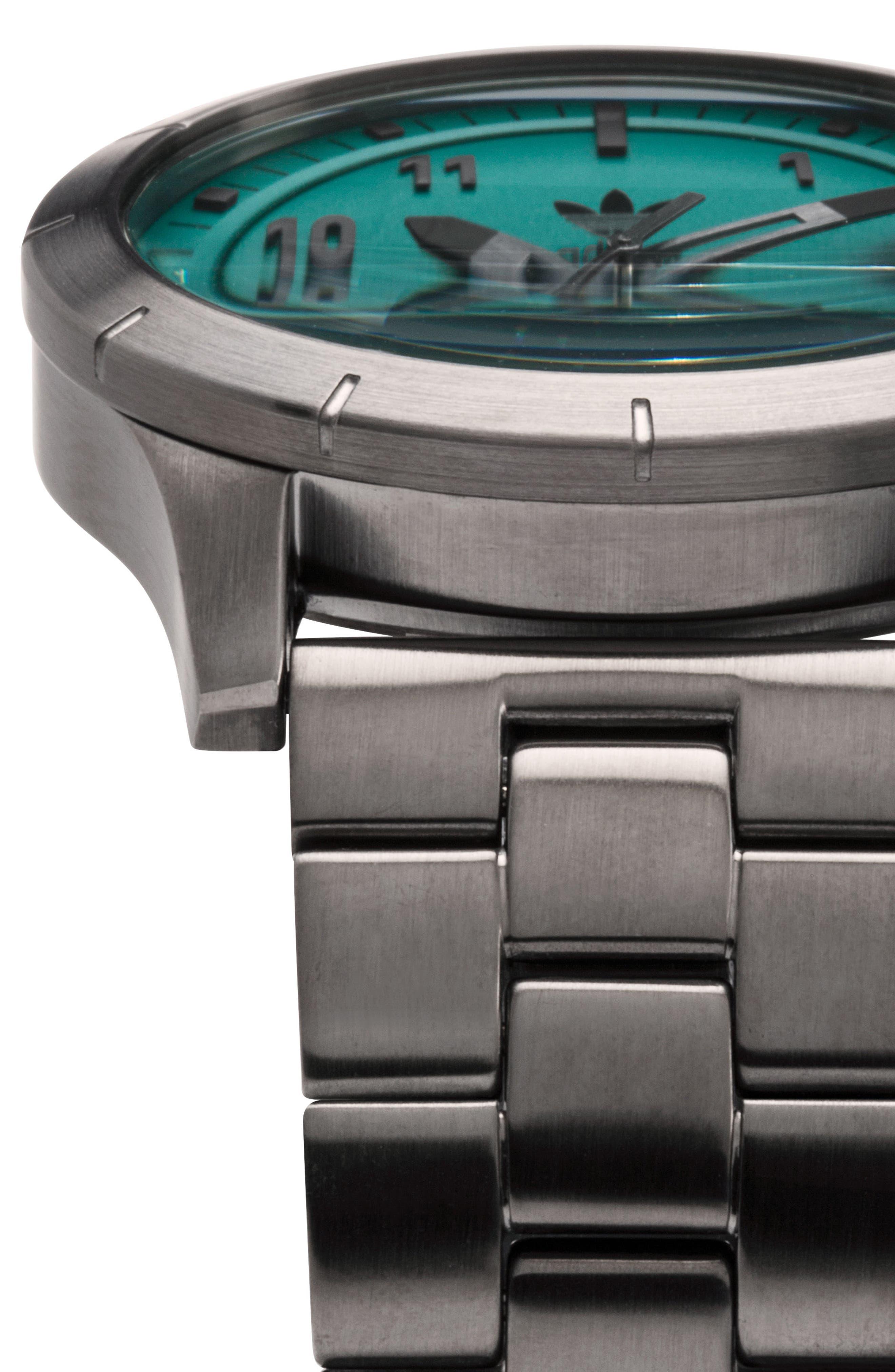 Cypher Bracelet Watch, 42mm,                             Alternate thumbnail 5, color,                             GUNMETAL/ GREEN