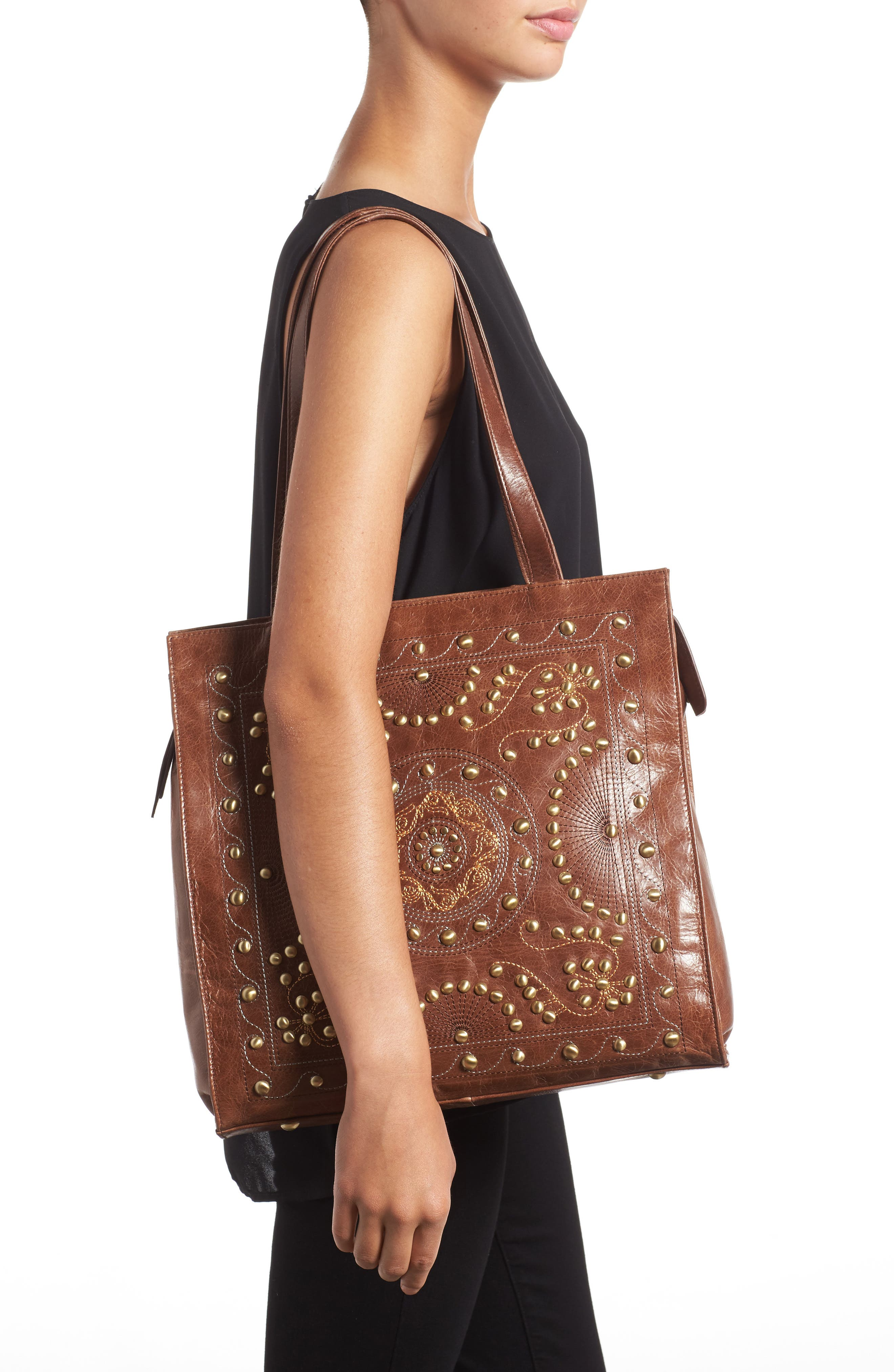 Avalon Studded Calfskin Leather Tote,                             Alternate thumbnail 6, color,