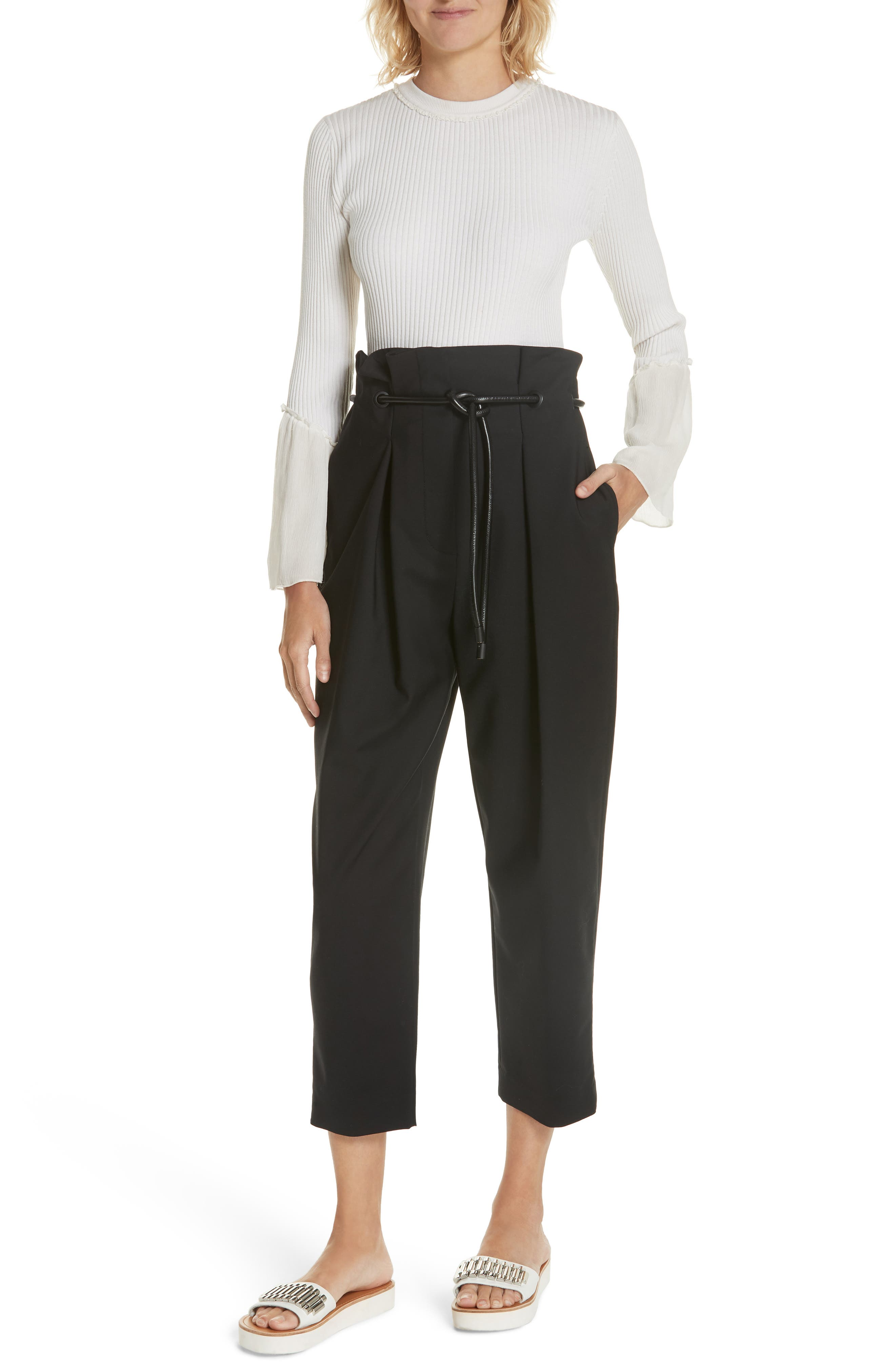 3.1 PHILLIP LIM,                             Origami Crop Flare Pants,                             Alternate thumbnail 7, color,                             001