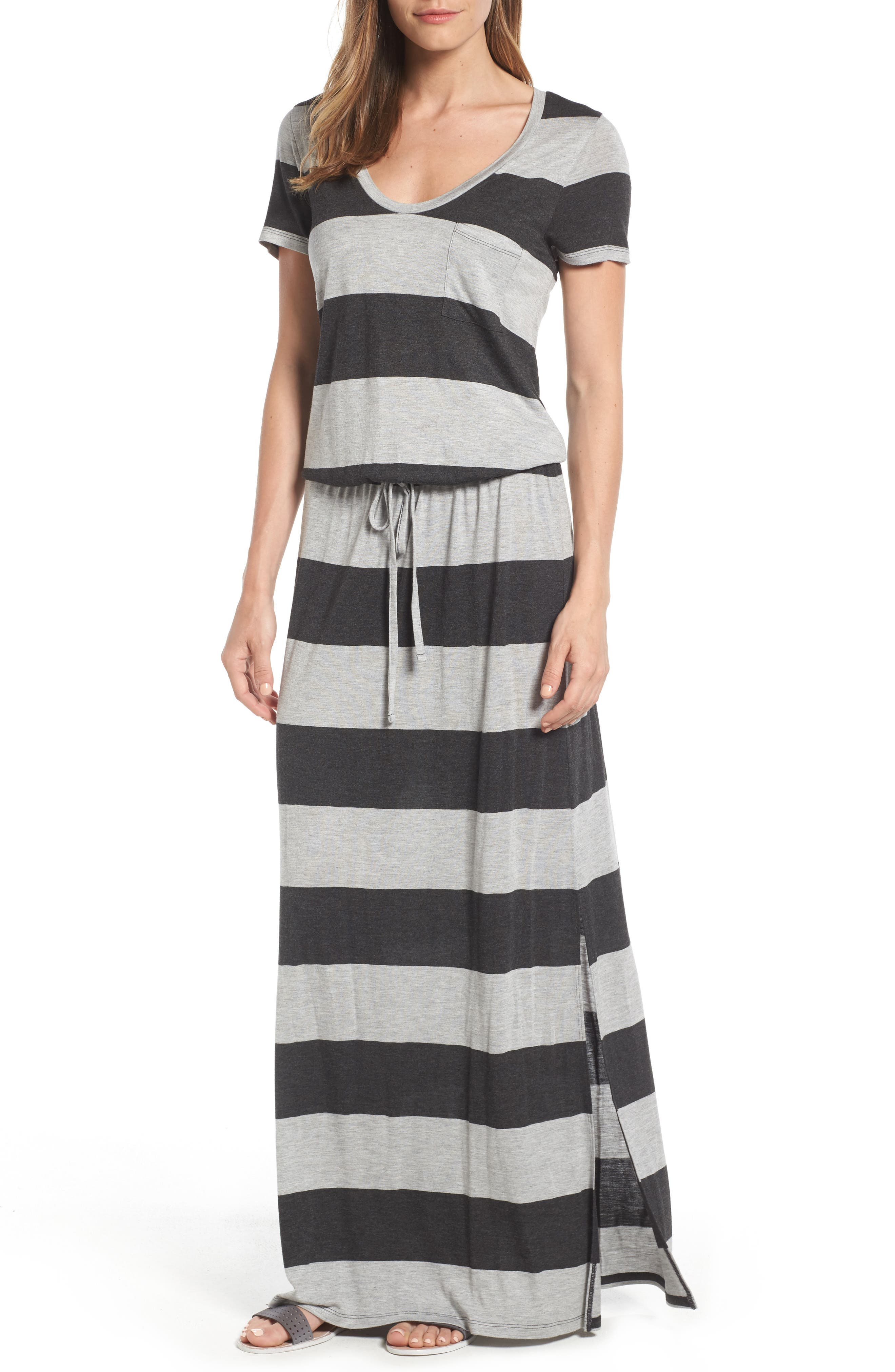 Drawstring V-Neck Jersey Maxi Dress,                             Main thumbnail 6, color,
