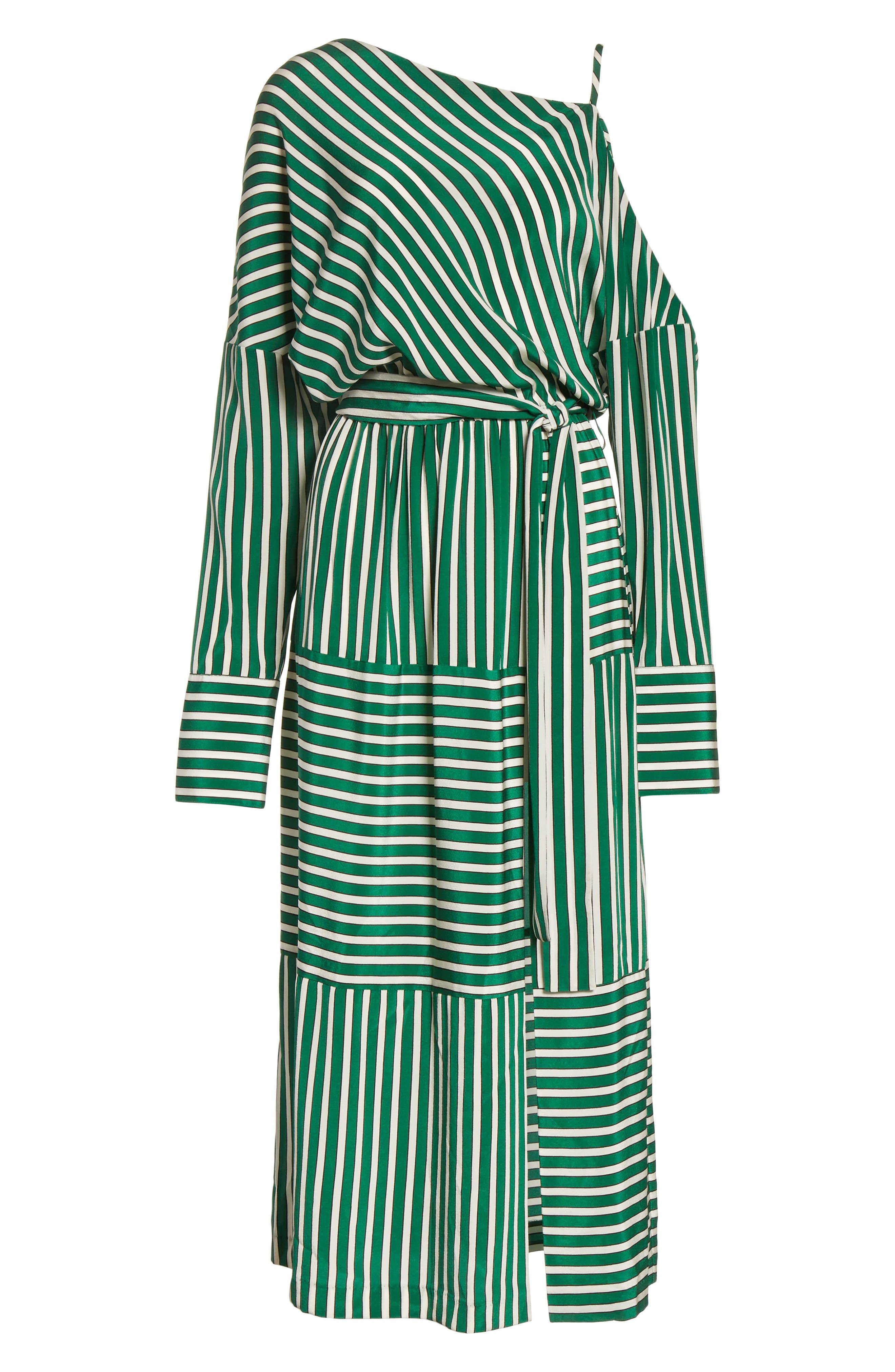 Stripe Silk Cold Shoulder Dress,                             Alternate thumbnail 7, color,                             300