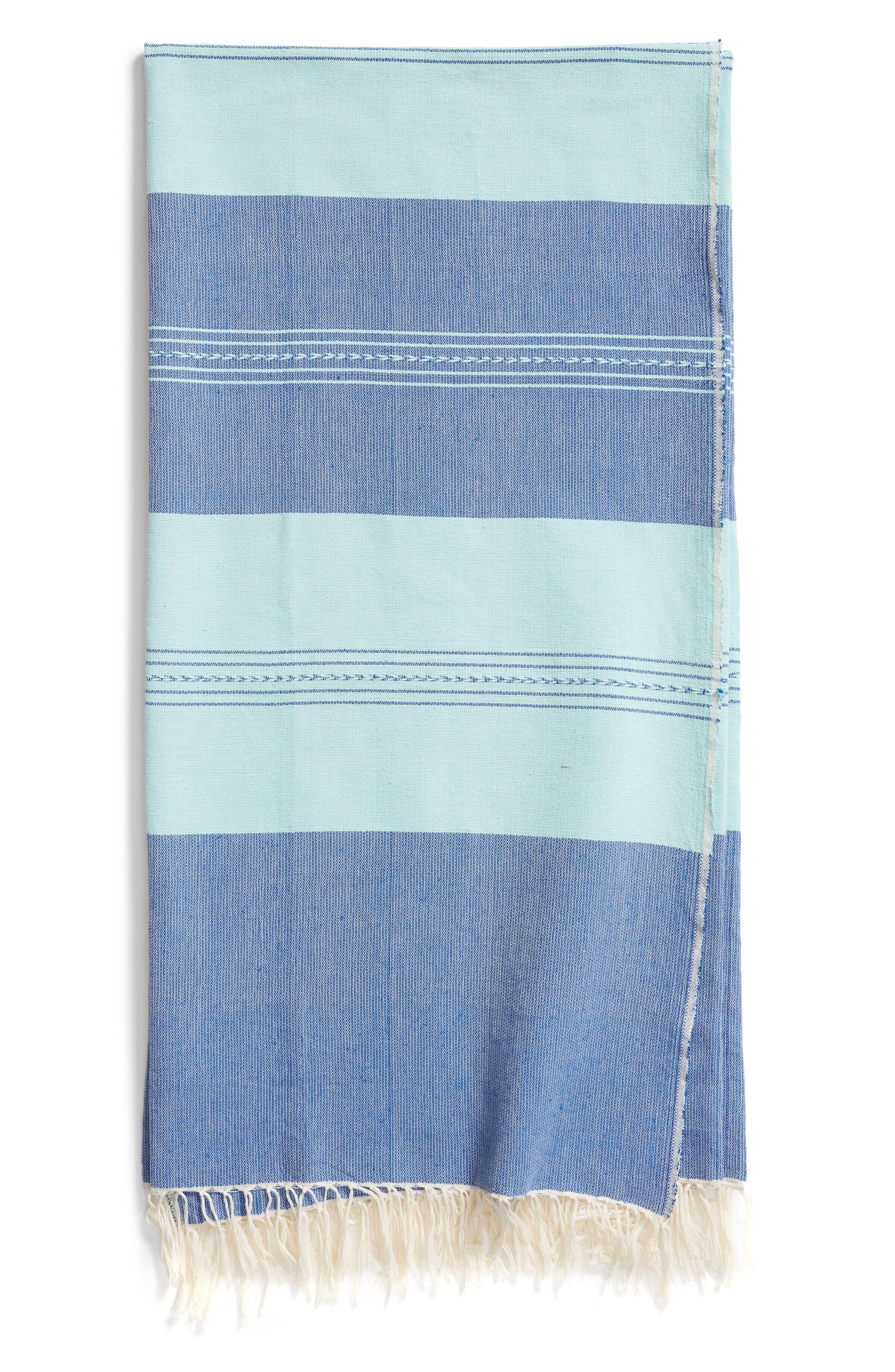 Aegean Sea Woven Cotton Blanket,                             Main thumbnail 1, color,                             GREEN/BLUE