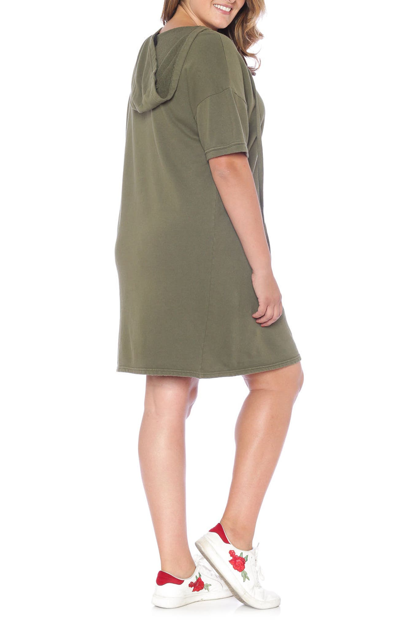 Lace-Up Hoodie Dress,                             Alternate thumbnail 5, color,