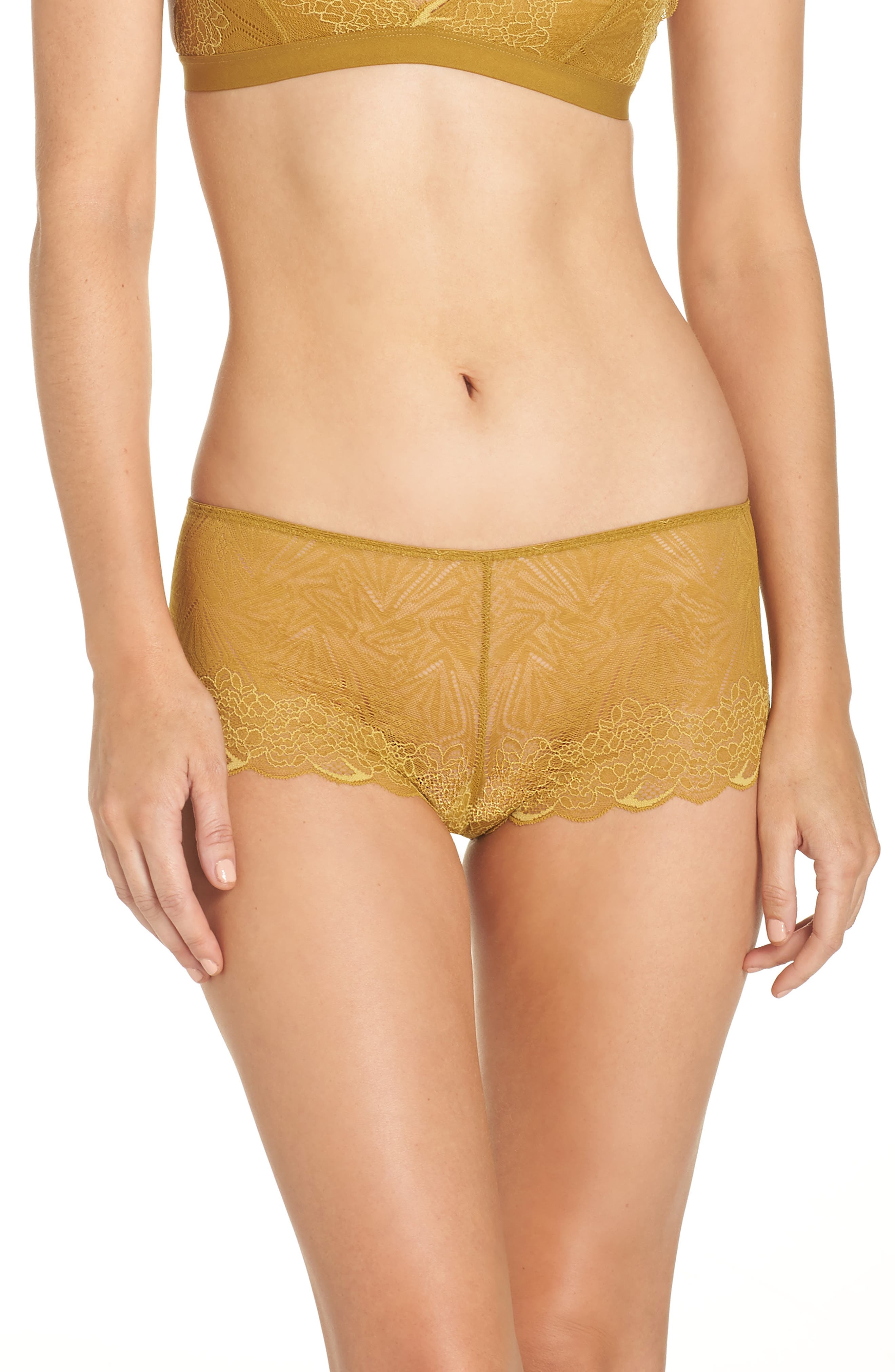 Lace Boyshorts,                         Main,                         color, BRONZED AMBAR