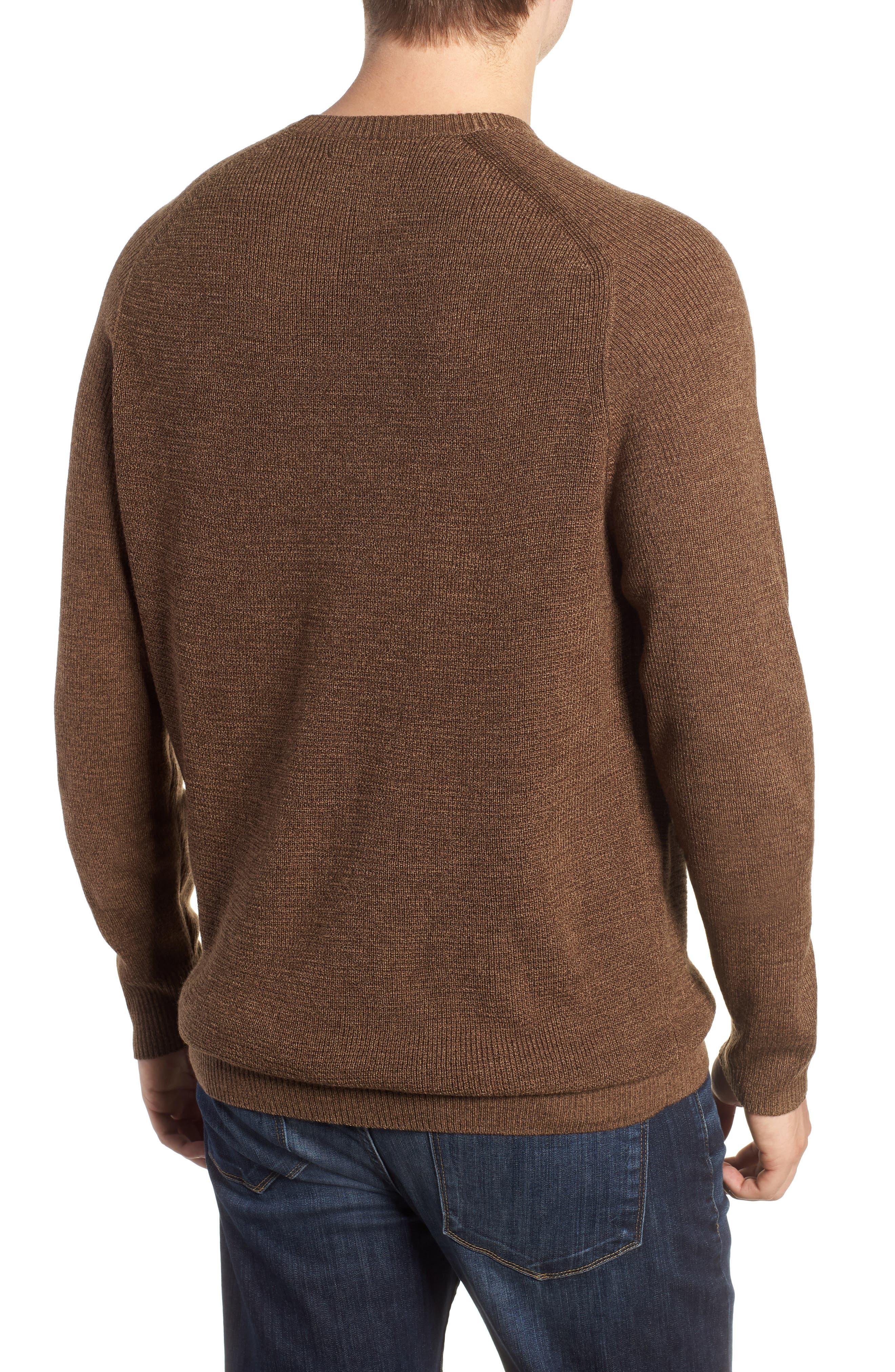 Crewneck Wool Blend Sweater,                             Alternate thumbnail 2, color,                             BROWN MAJOR