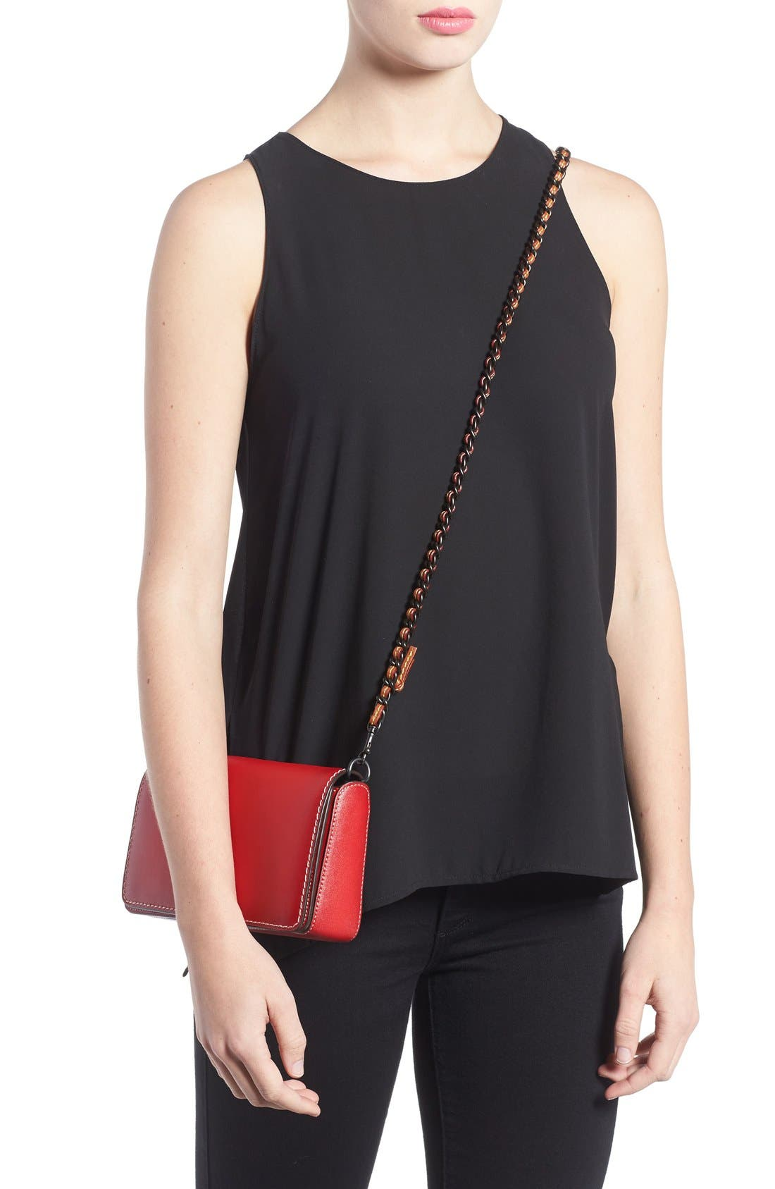 'Dinky' Leather Crossbody Bag,                             Alternate thumbnail 8, color,