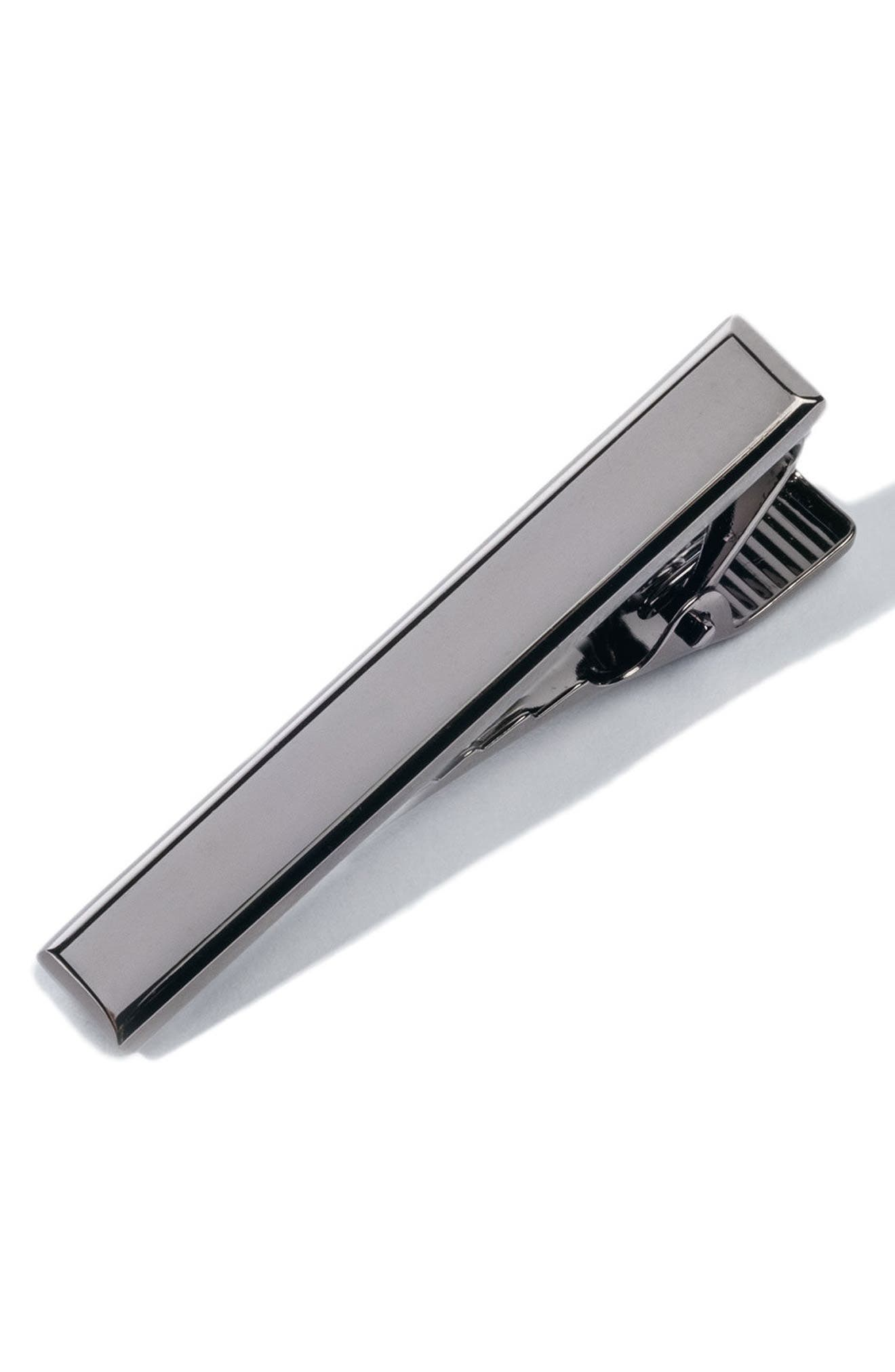 Beveled Edge Tie Bar,                         Main,                         color, GUNMETAL