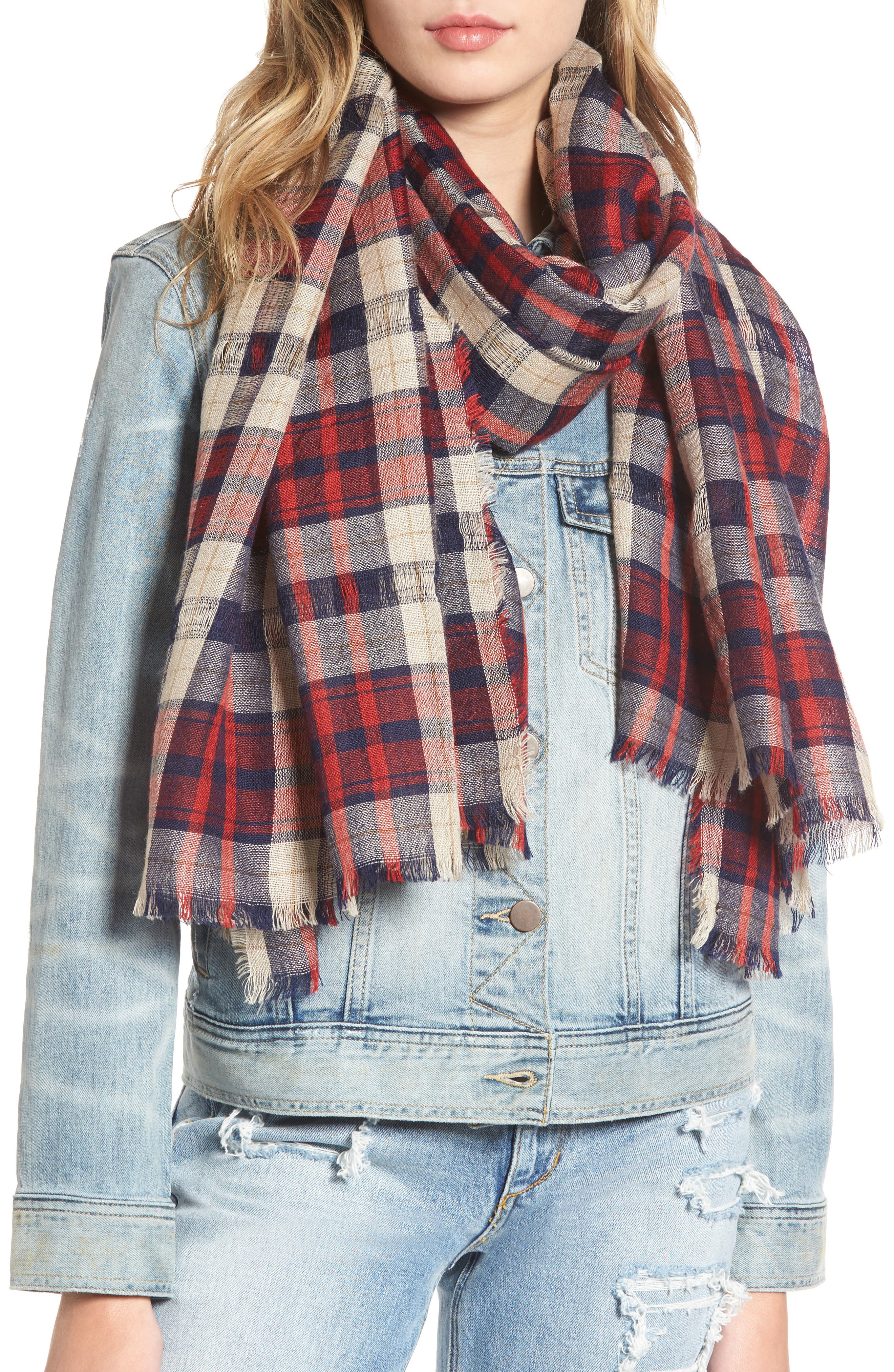 Christy Check Scarf,                             Main thumbnail 1, color,                             600