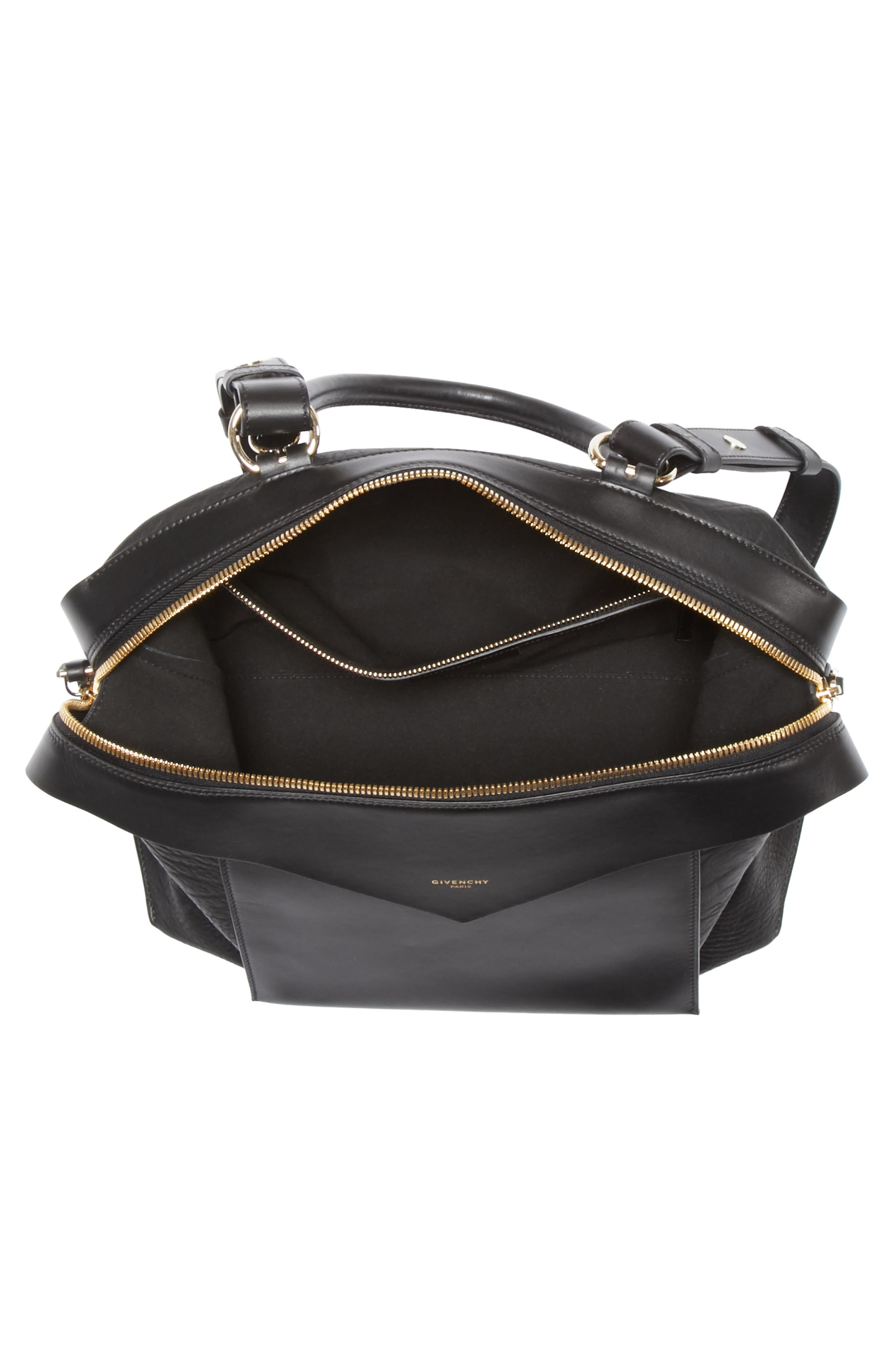 GIVENCHY,                             Medium Sway Leather Satchel,                             Alternate thumbnail 3, color,                             001