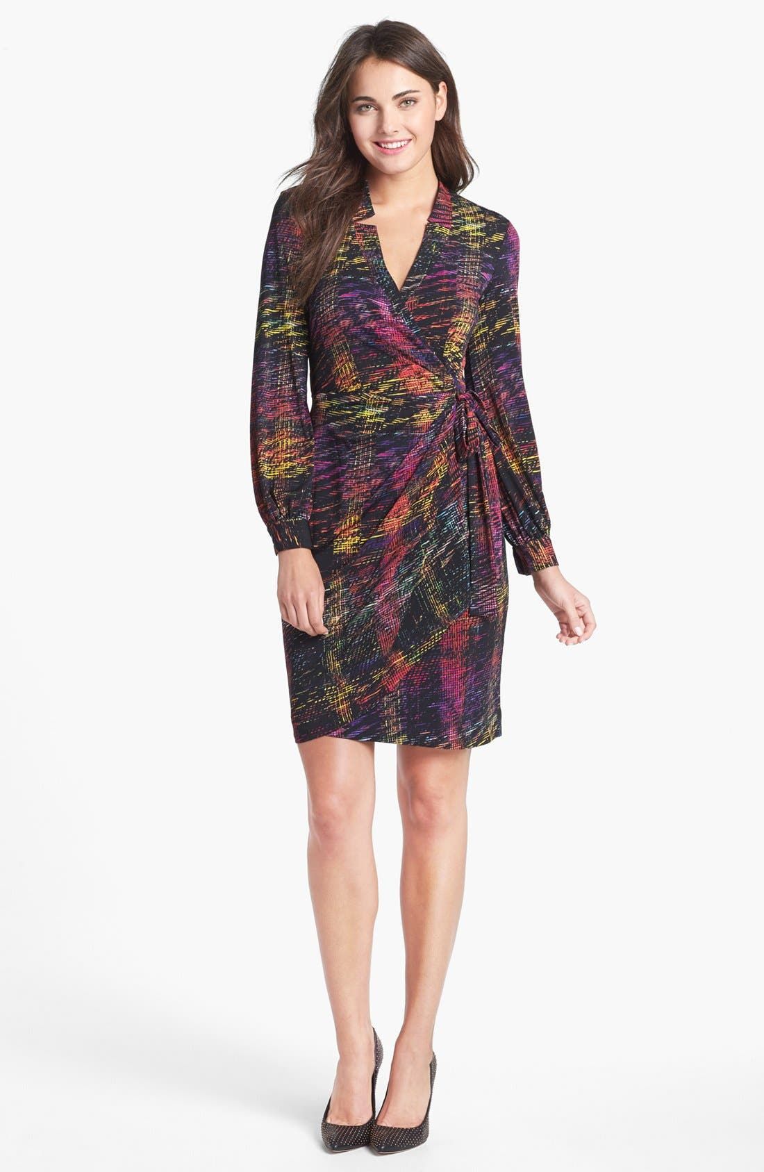Print Jersey Wrap Dress,                             Main thumbnail 1, color,
