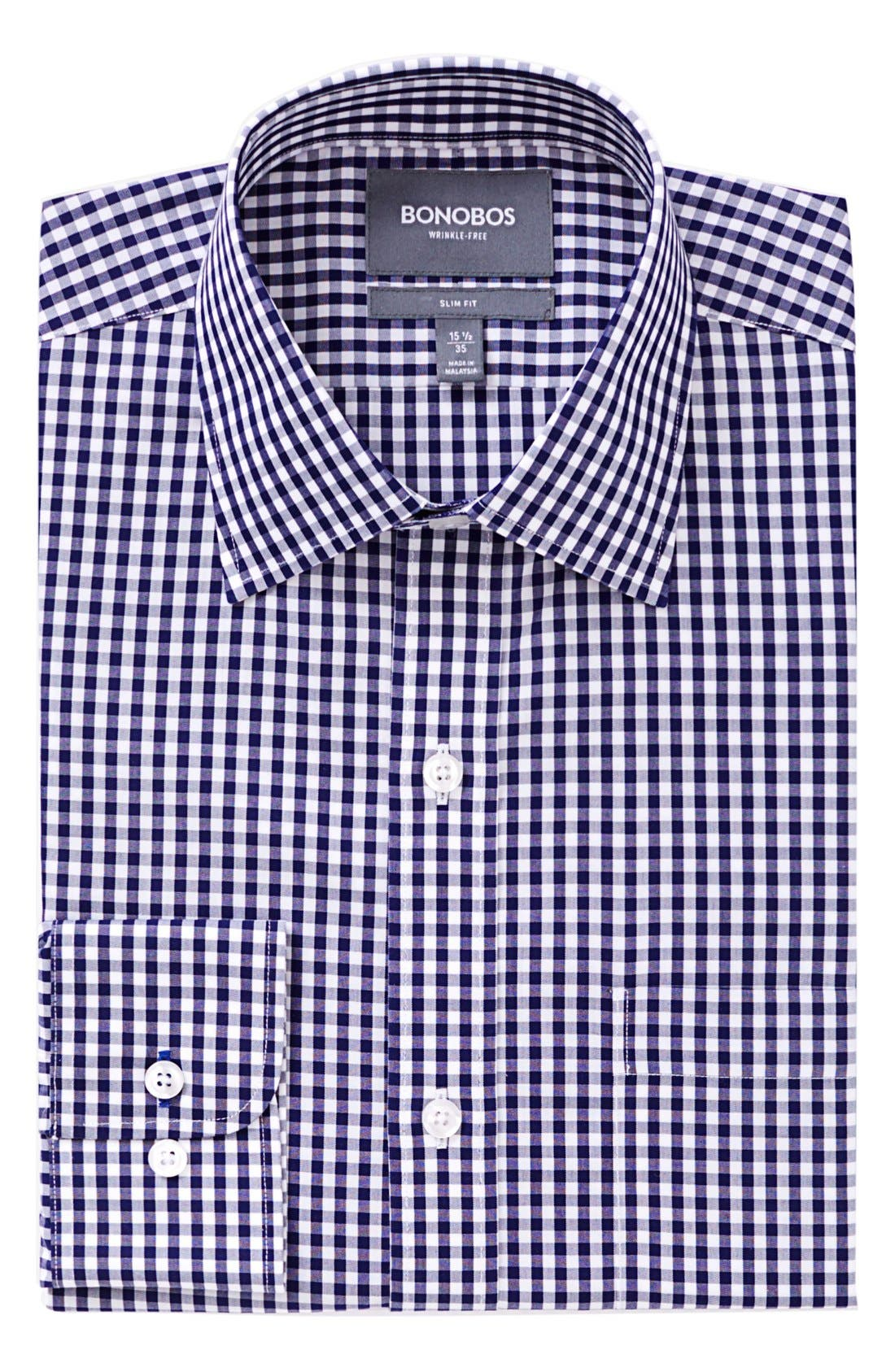 Slim Fit Wrinkle Free Check Dress Shirt,                         Main,                         color, NAVY