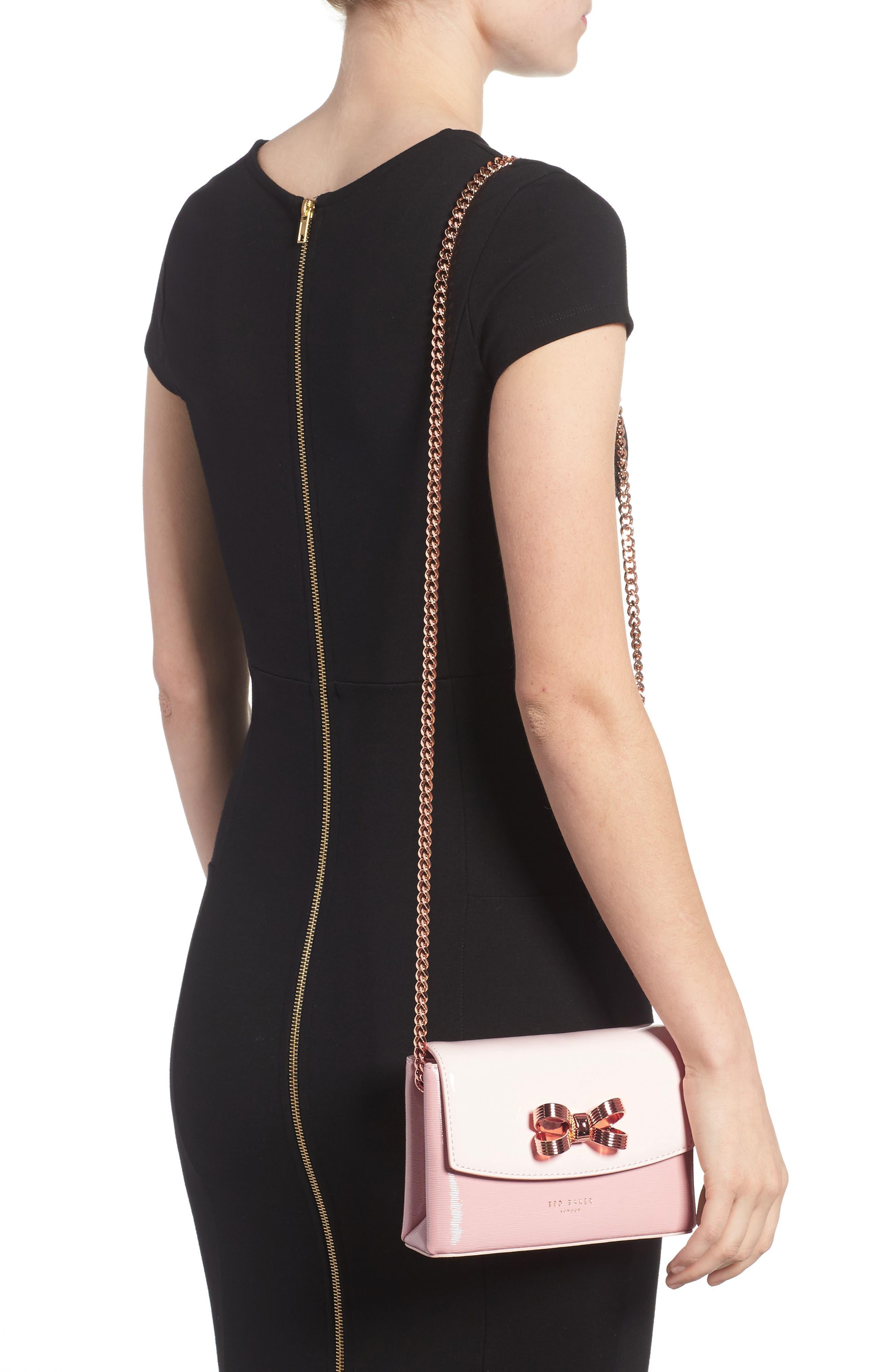 Loopa Bow Mini Leather Crossbody Bag,                             Alternate thumbnail 4, color,