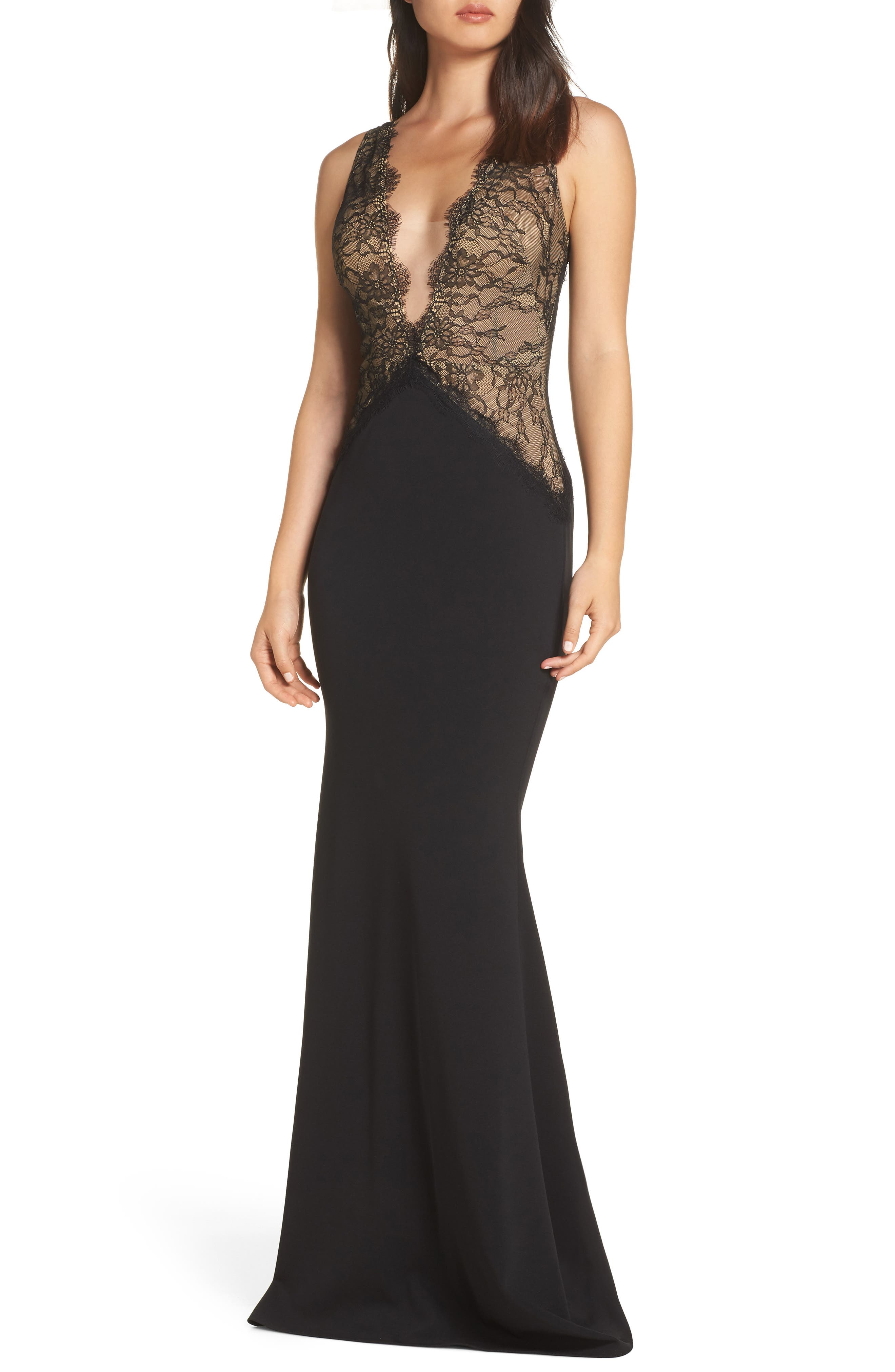Katie May Mesh Bodice Trumpet Gown, Black