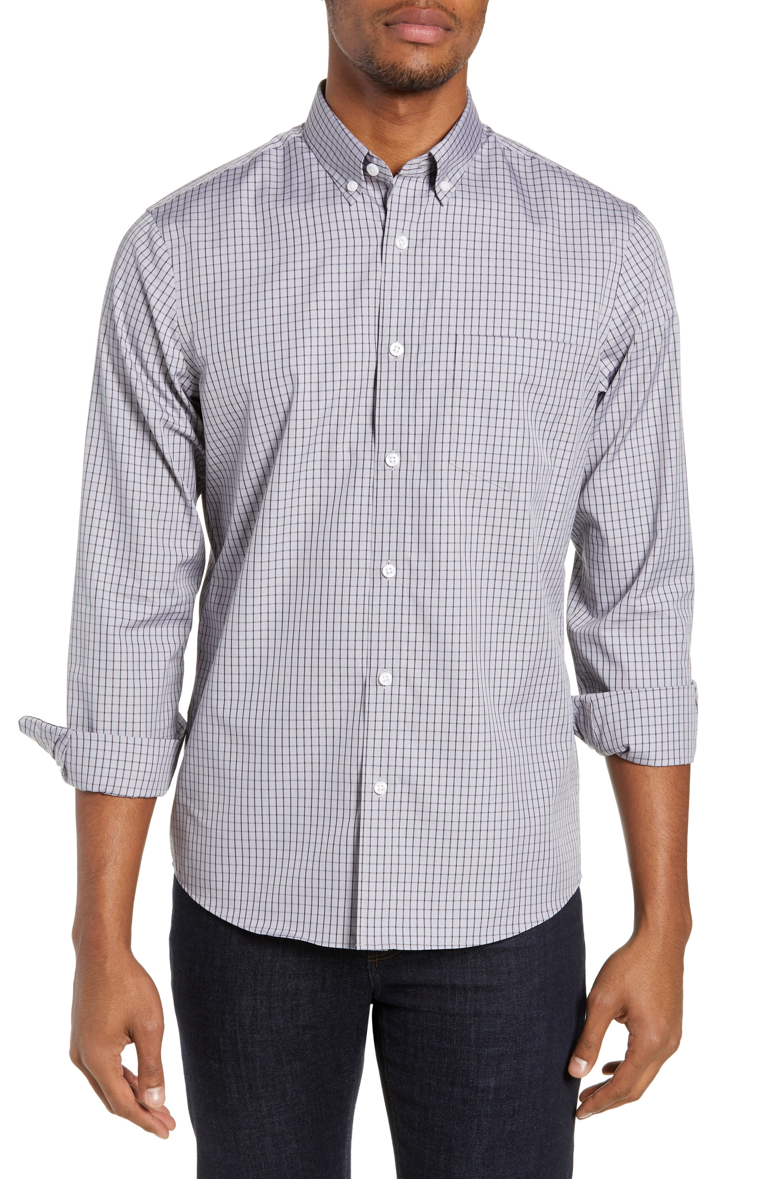 NORDSTROM MEN'S SHOP Trim Fit Non-Iron Check Sport Shirt, Main, color, GREY FILIGREE MINIGRID