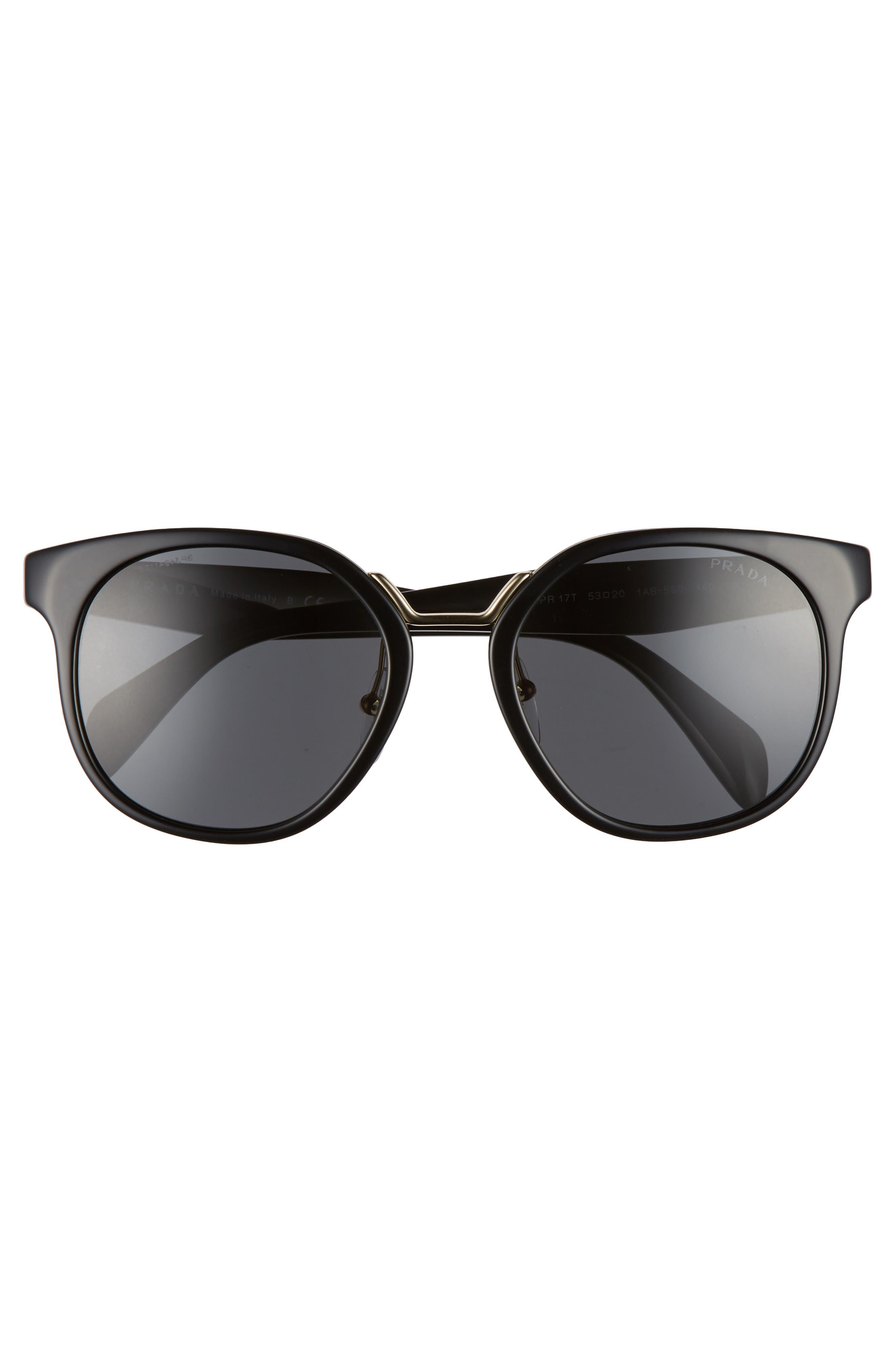 53mm Horn-Rimmed Sunglasses,                             Alternate thumbnail 3, color,                             020