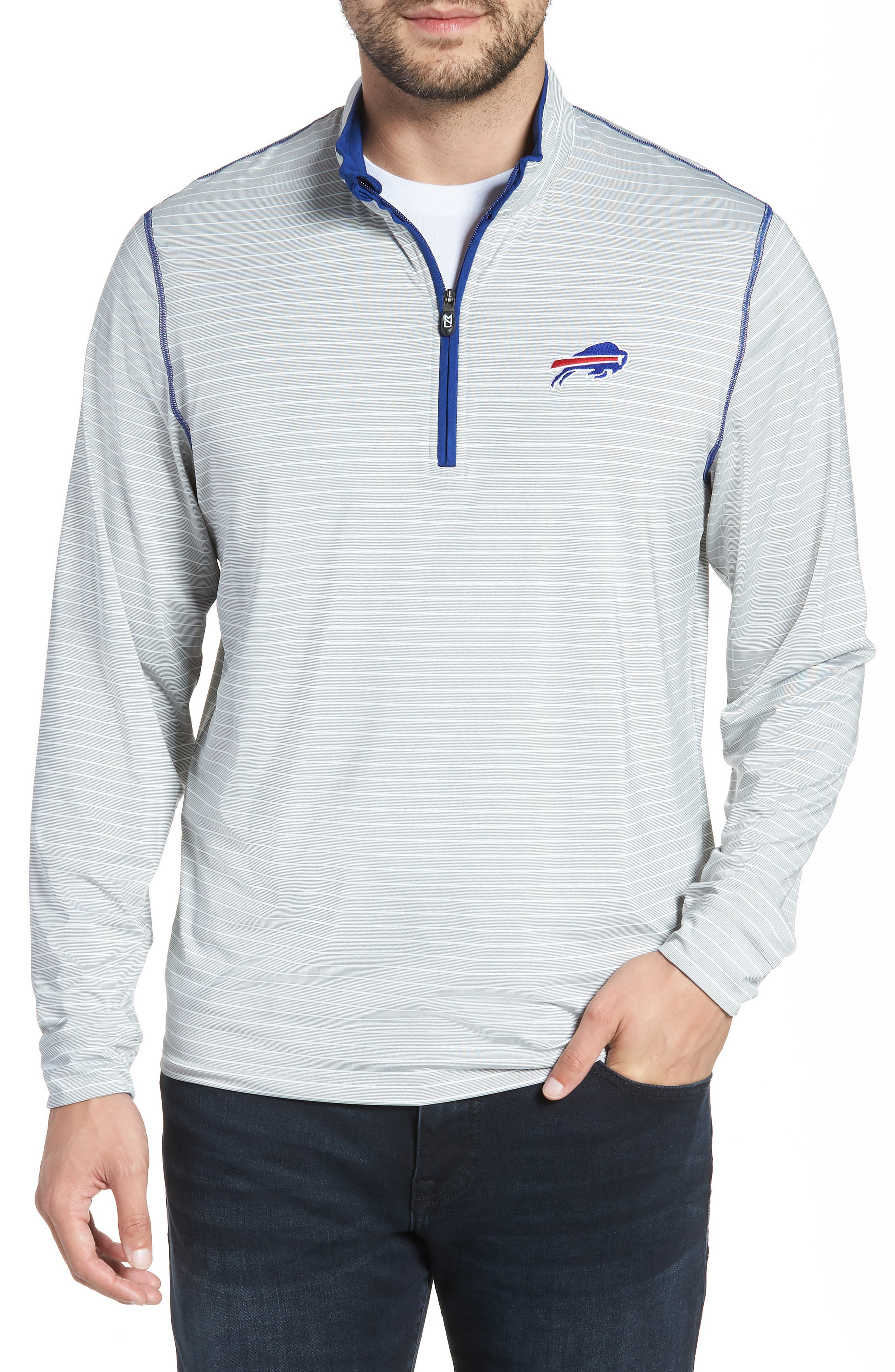 Meridian - Buffalo Bills Regular Fit Half Zip Pullover,                             Main thumbnail 1, color,                             462