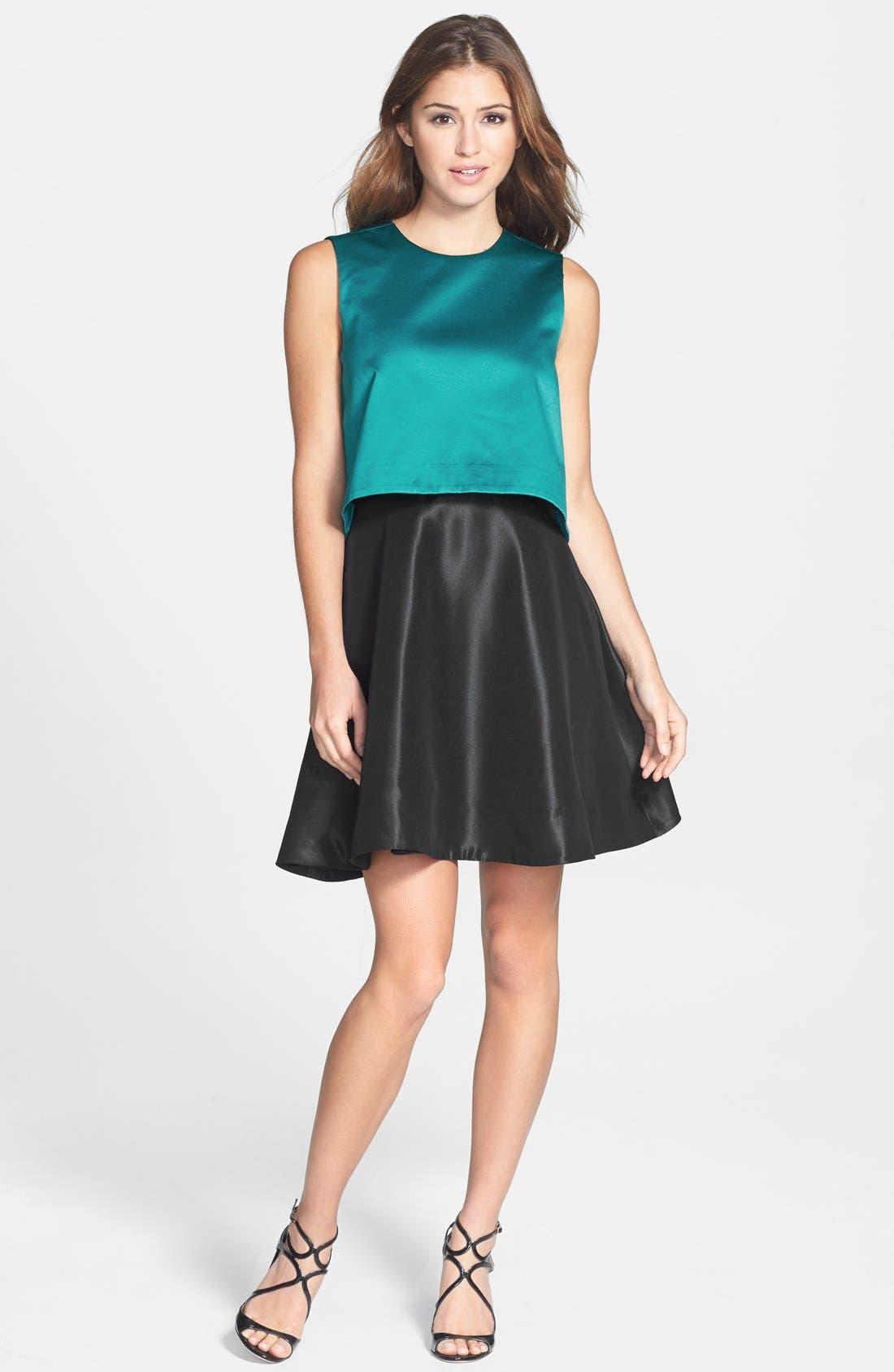 'Tippy' Popover Satin Fit & Flare Dress,                             Alternate thumbnail 3, color,                             440