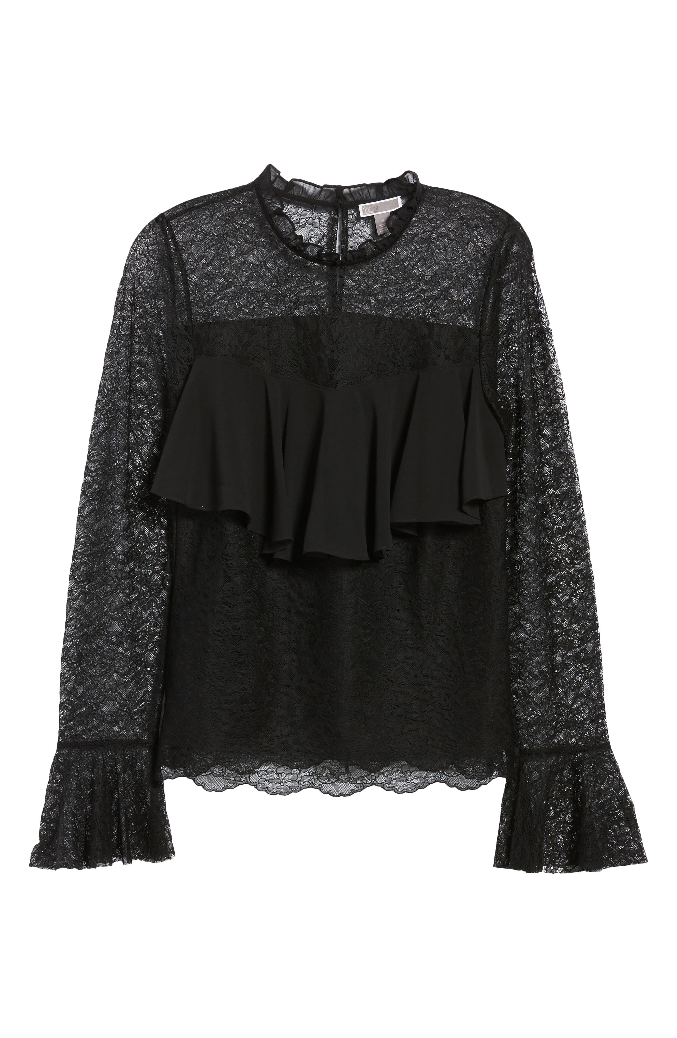 Ruffle Lace Top,                             Alternate thumbnail 6, color,                             001