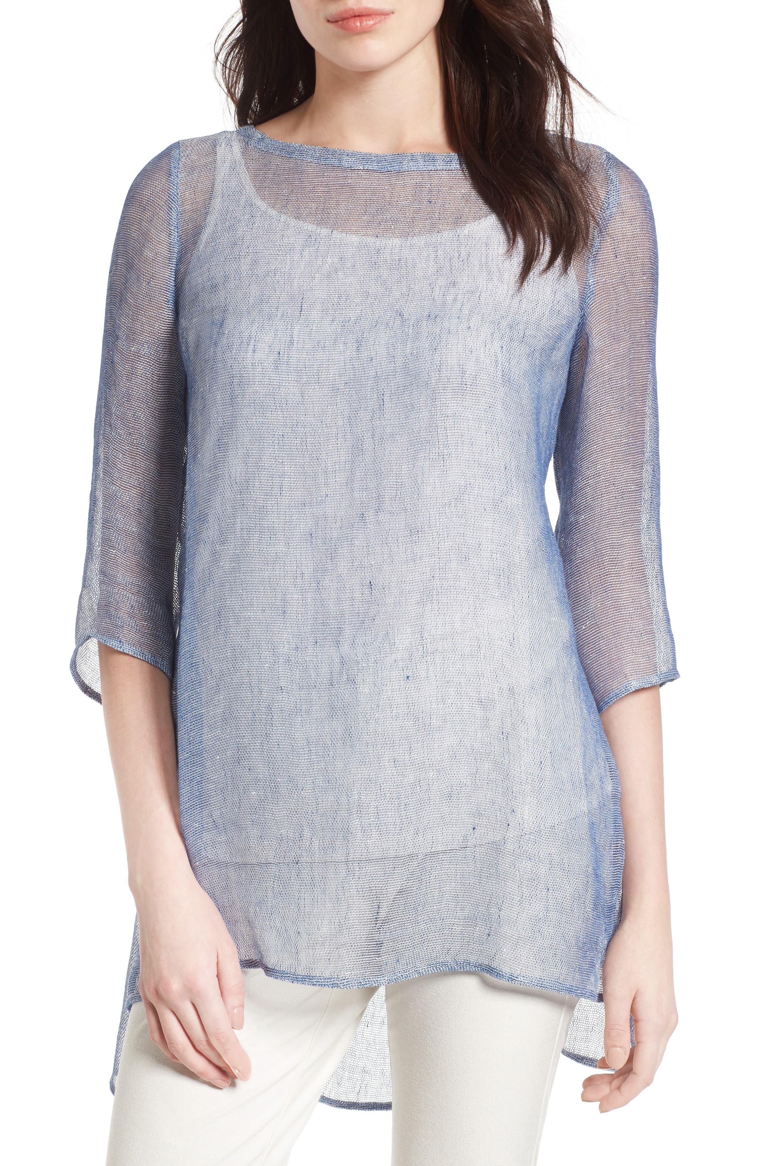 Organic Linen Blend Tunic,                             Main thumbnail 3, color,