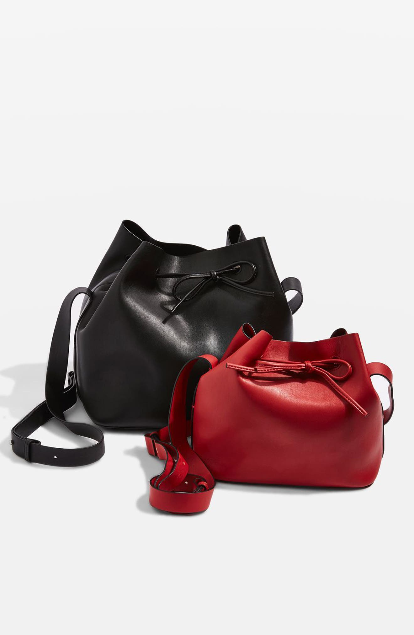 Stella Faux Leather Bucket Bag,                             Alternate thumbnail 9, color,                             001