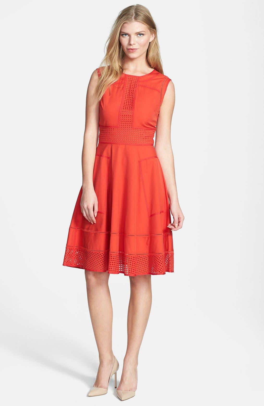 Rachel Roy Perforated Panel Cotton & Silk Poplin Dress,                         Main,                         color, 800