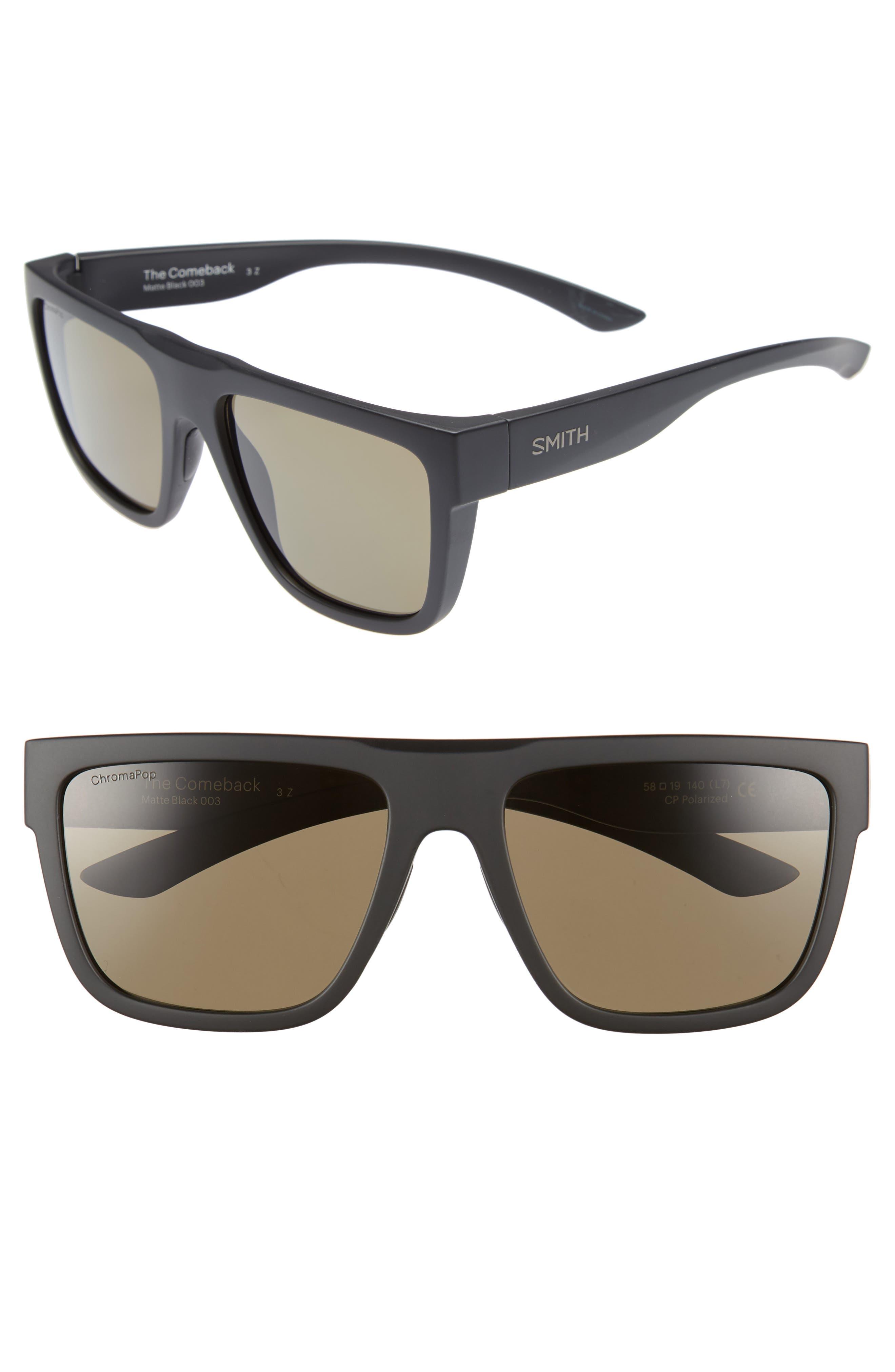 The Comeback 58mm ChromaPop<sup>™</sup> Square Sunglasses,                             Main thumbnail 1, color,                             MATTE BLACK