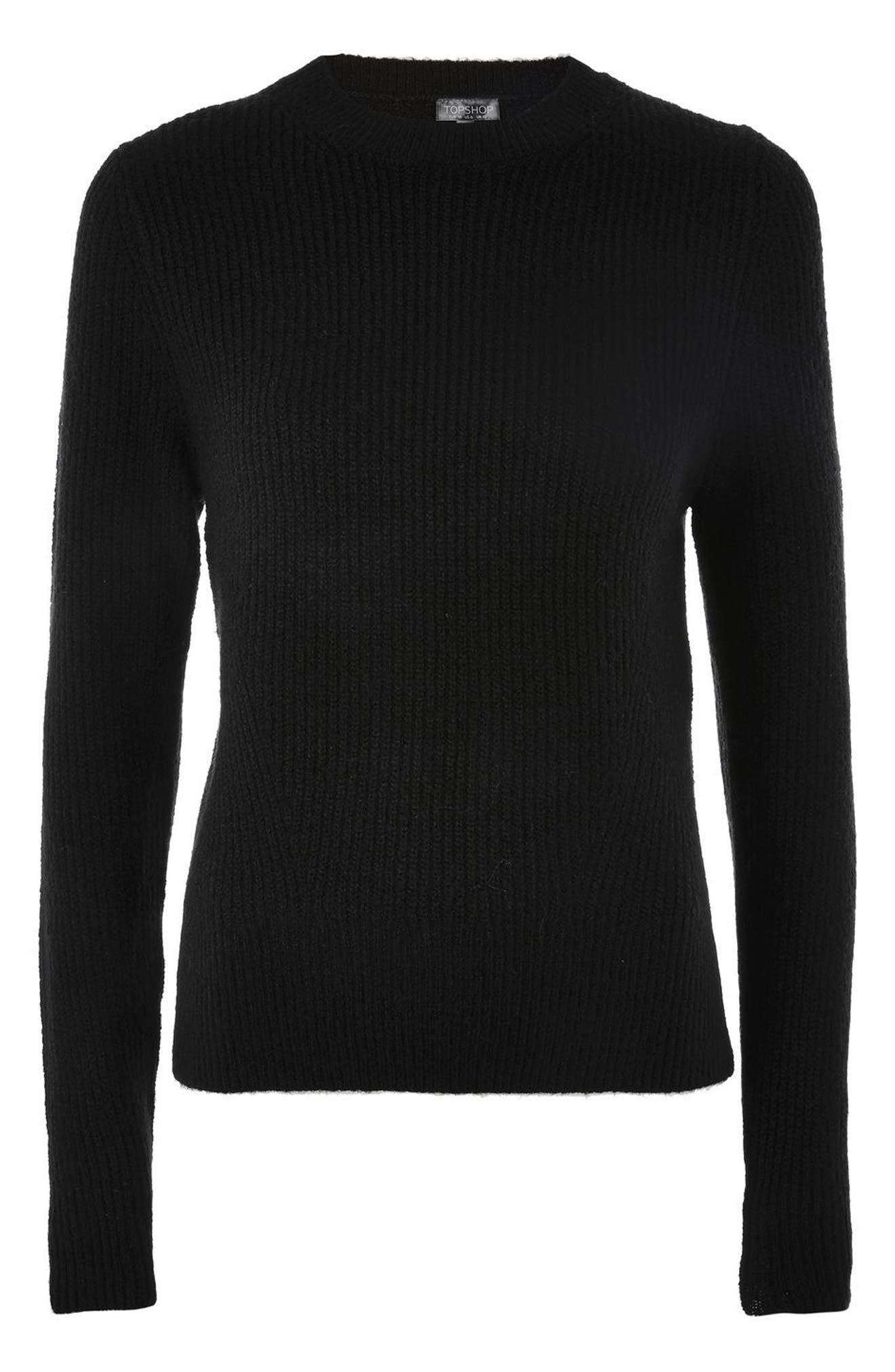 Ribbed Crewneck Sweater,                             Alternate thumbnail 4, color,                             001