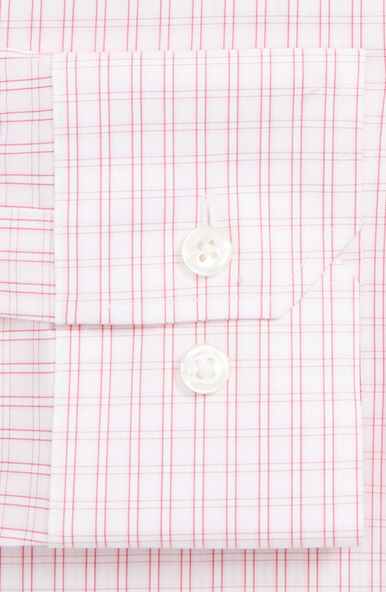 Raven Slim Fit Stretch Check Dress Shirt,                             Alternate thumbnail 2, color,                             SHOCKING POPPY