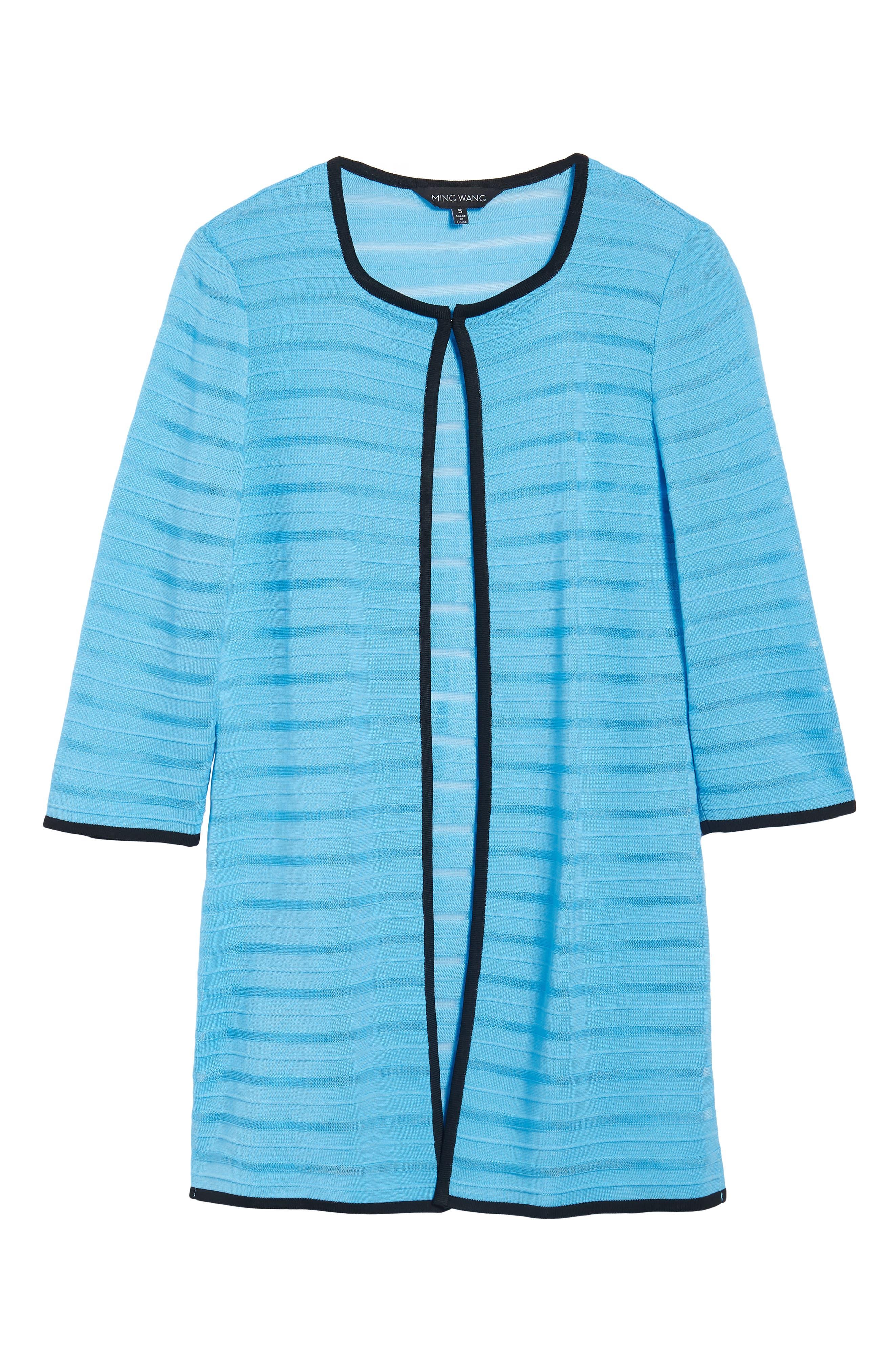 Sheer Stripe Long Jacket,                             Alternate thumbnail 5, color,                             BLUEBONNET/ BLACK
