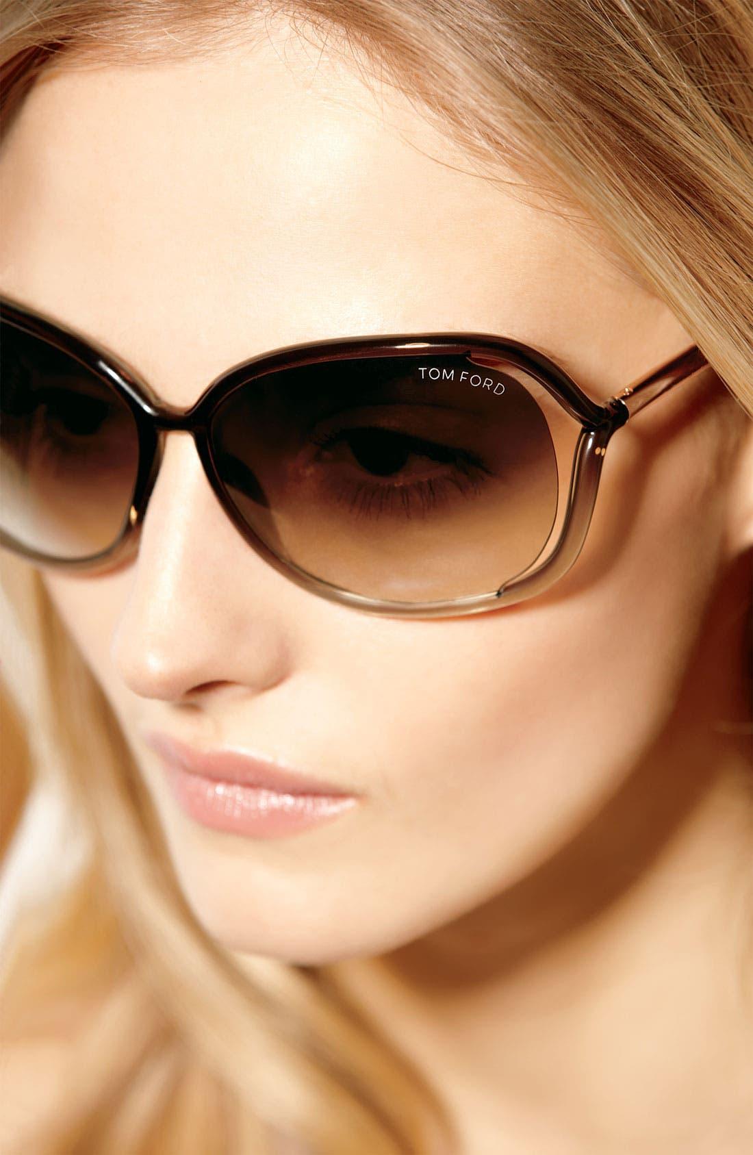 'Raquel' 63mm Oversized Open Side Sunglasses,                             Alternate thumbnail 3, color,                             TRANSPARENT BRONZE