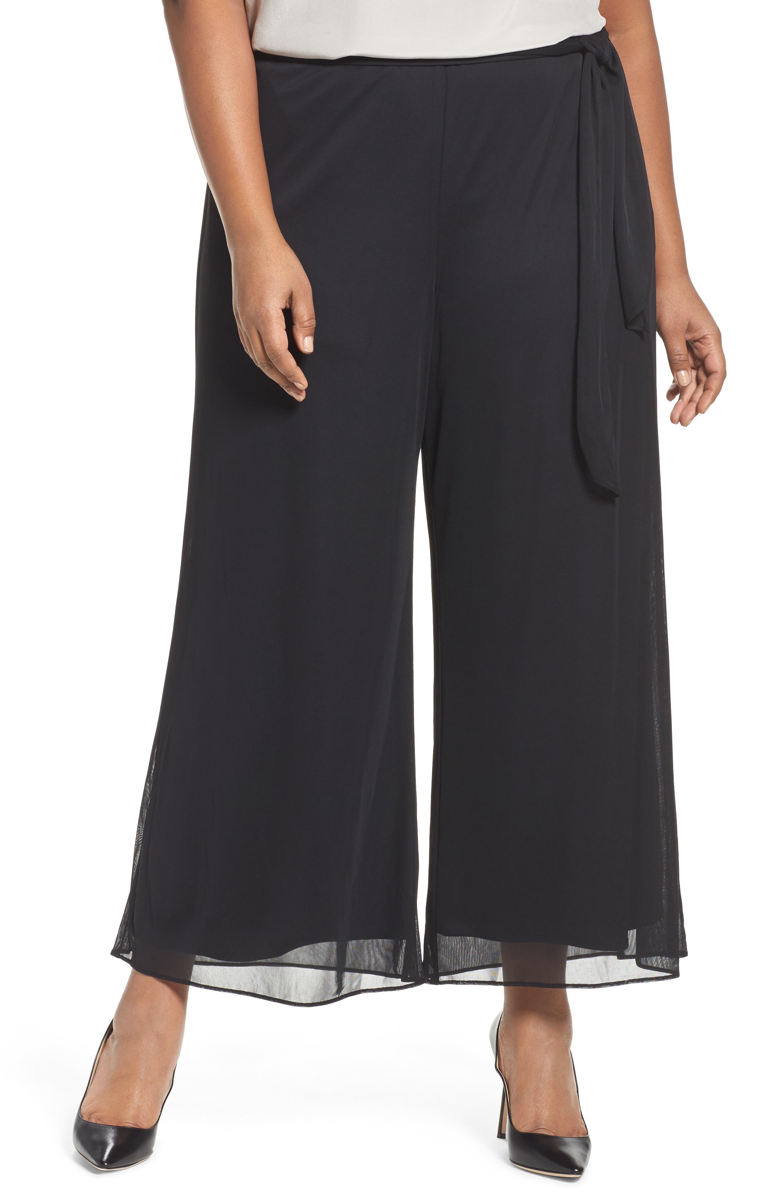 High Rise Tie Waist Wide Leg Pants,                         Main,                         color, BLACK
