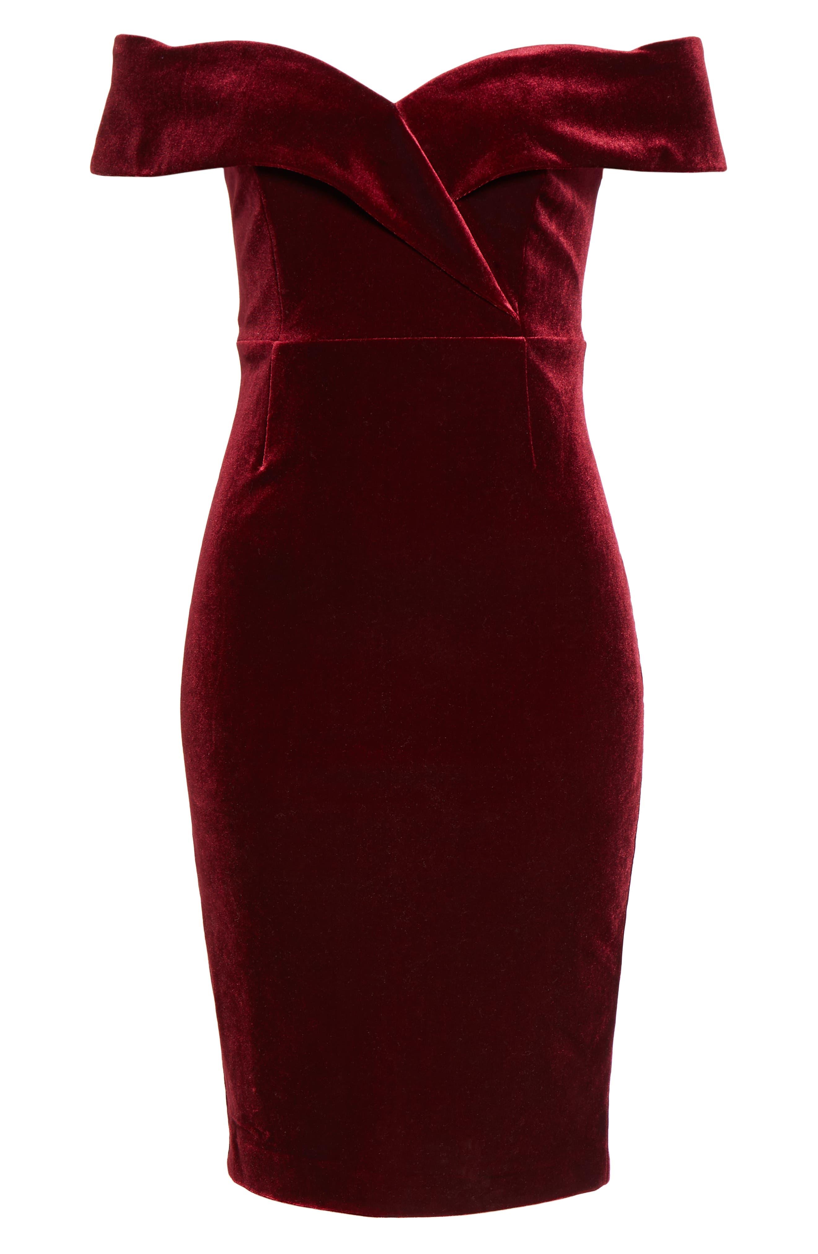 Bella Off the Shoulder Velvet Dress,                             Alternate thumbnail 6, color,                             CABERNET