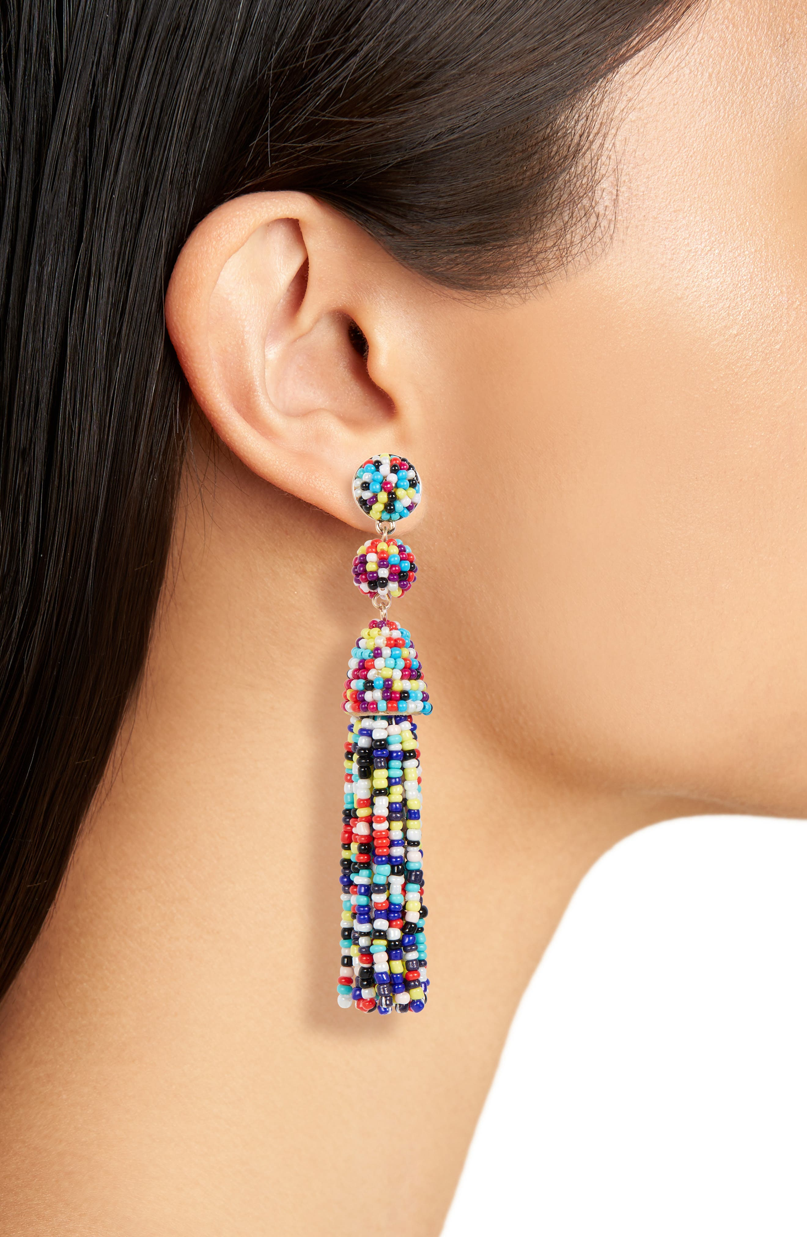 Granita 2-Pack Beaded Tassel Earrings,                             Alternate thumbnail 2, color,                             BLACK/ RAINBOW