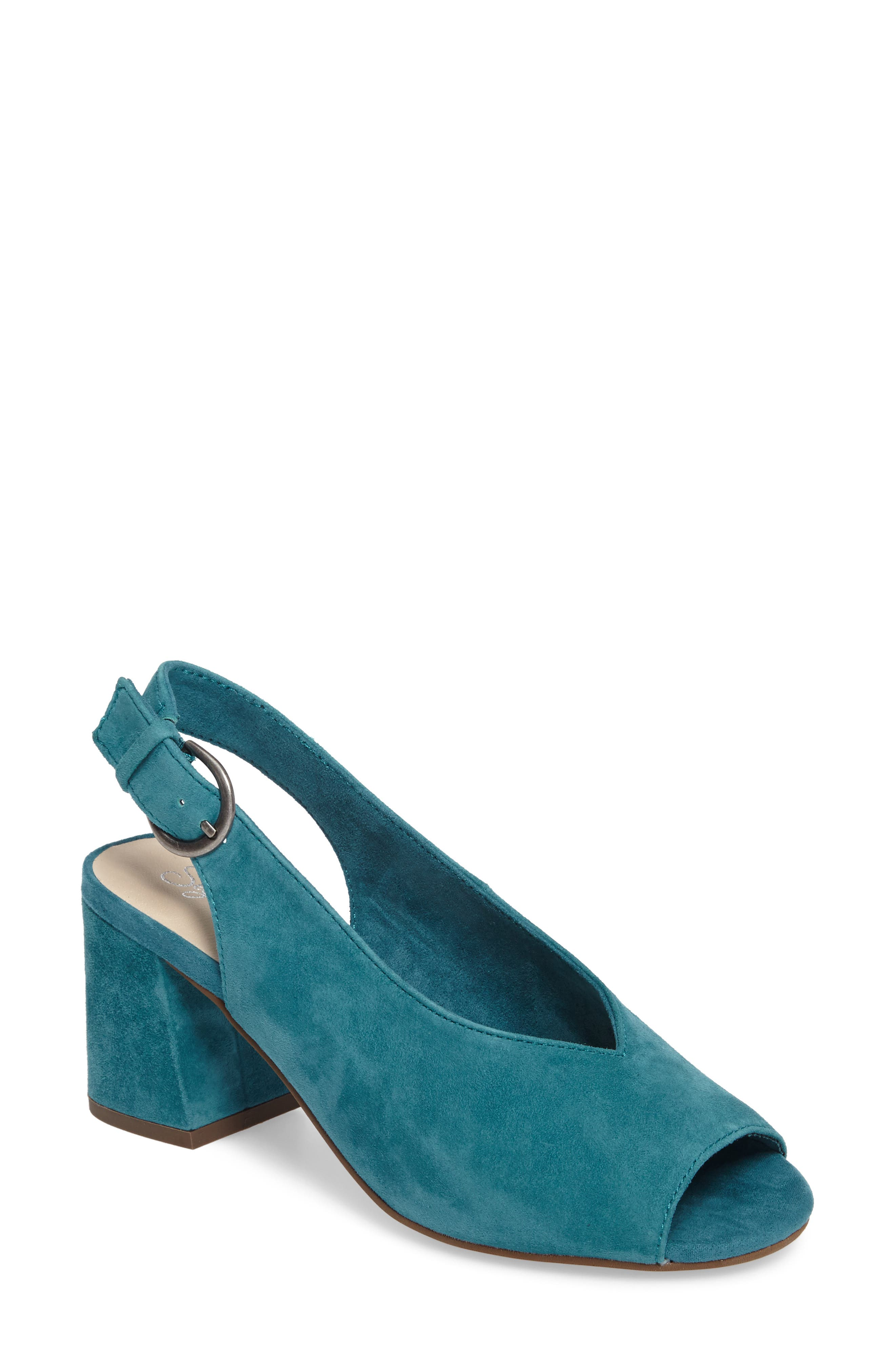 Playwright Slingback Sandal,                             Main thumbnail 1, color,                             TEAL SUEDE
