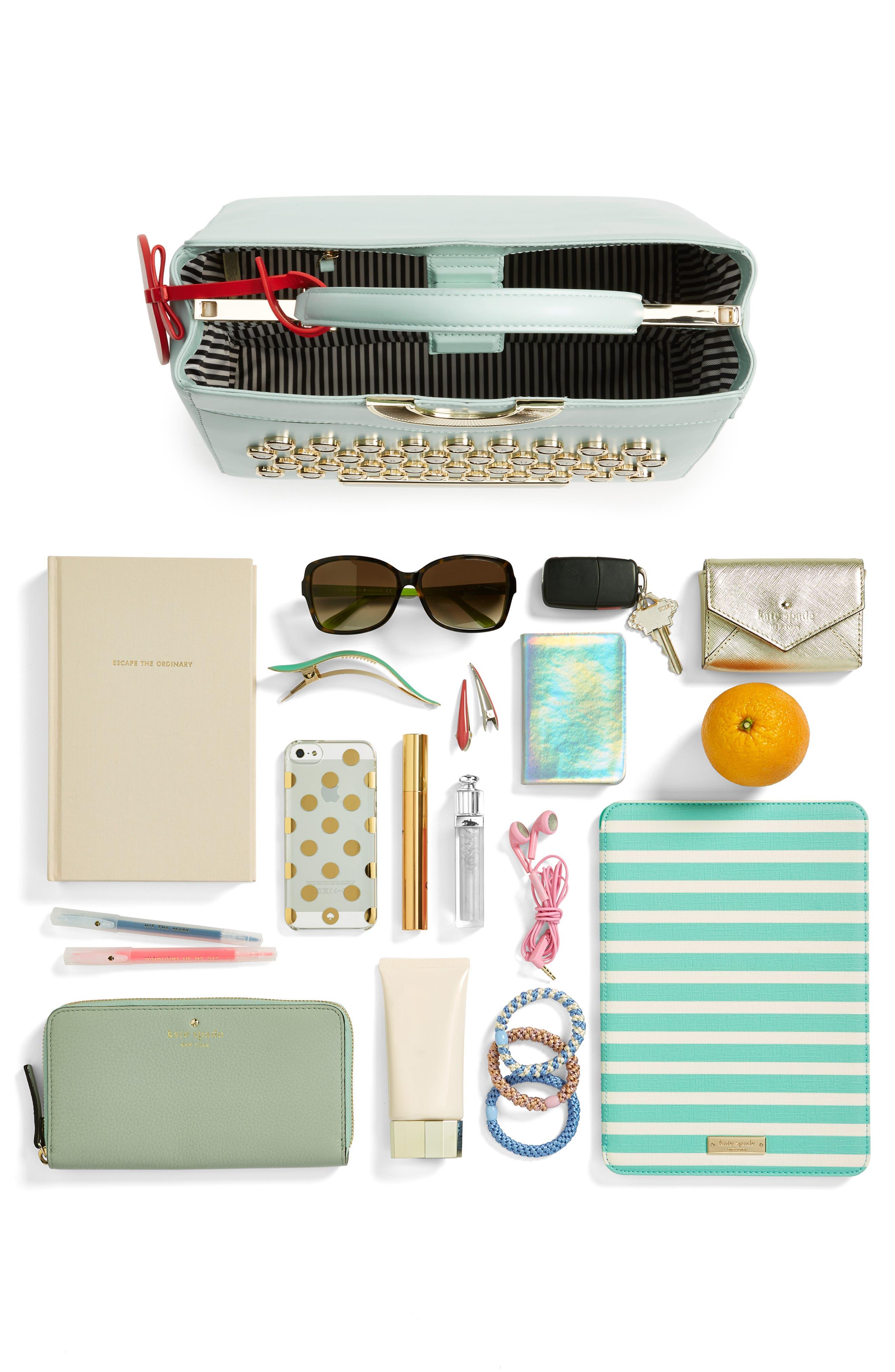 be mine - typewriter leather satchel,                             Alternate thumbnail 3, color,                             474